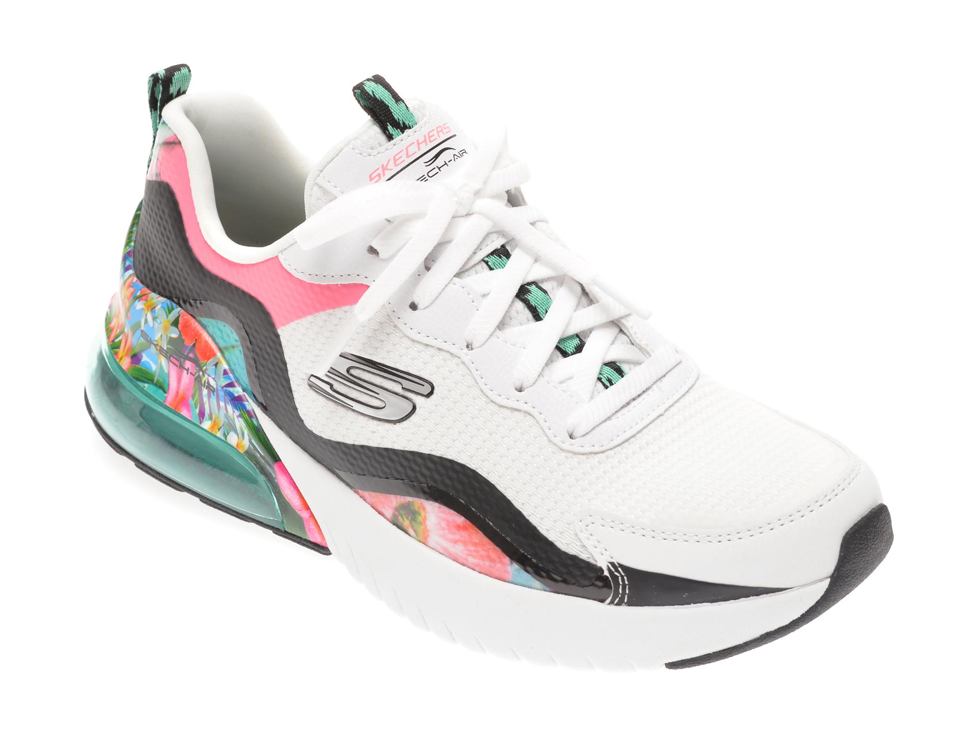 Pantofi sport SKECHERS albi, SKECH-AIR STRATUS SUPER GALAXY, din material textil si piele ecologica imagine