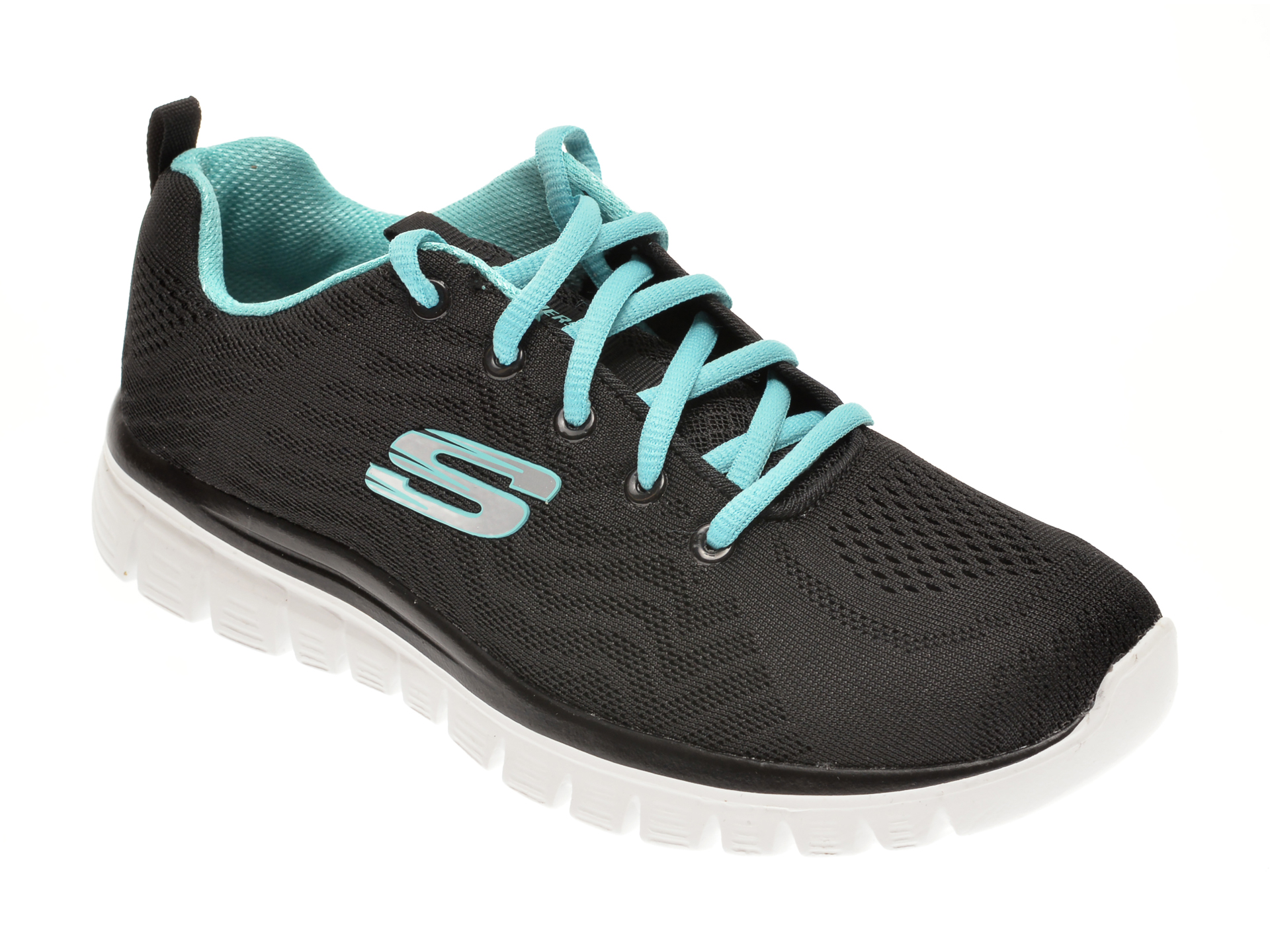 Pantofi Sport Skechers Negri, Graceful Get Connected, Din Material Textil