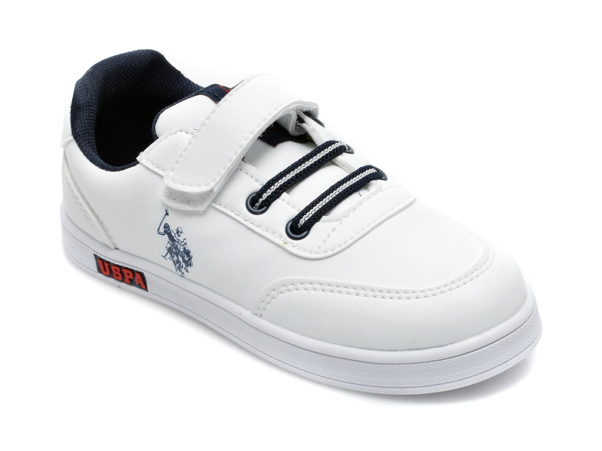 Pantofi sport US POLO ASSN albi, ALEN1FX, din piele ecologica