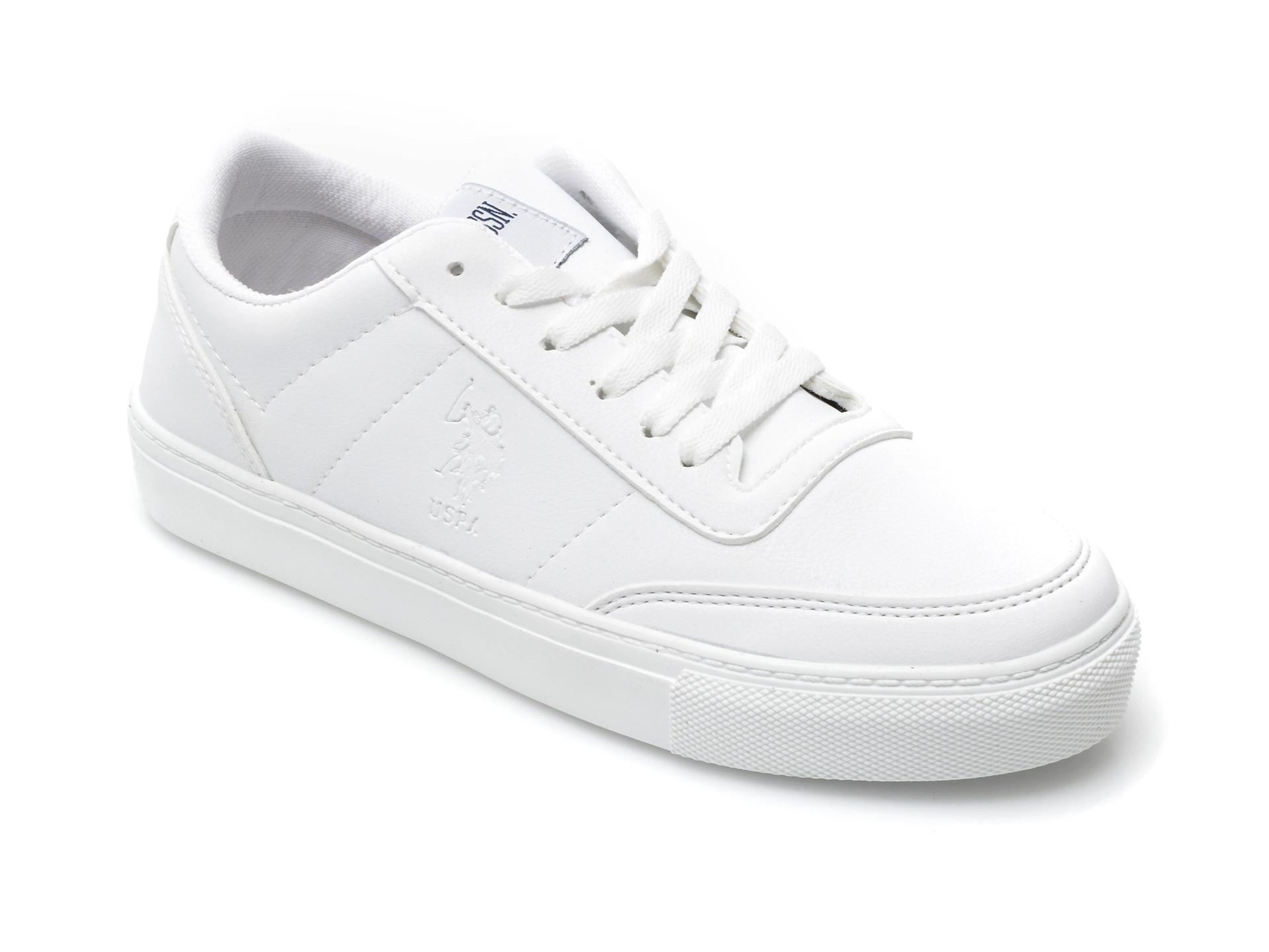 Pantofi sport US POLO ASSN albi, TIG9P1F, din piele ecologica