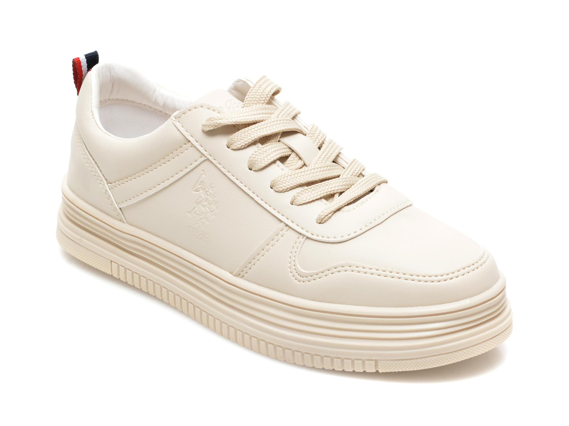 Pantofi sport US POLO ASSN bej, SURI, din piele ecologica