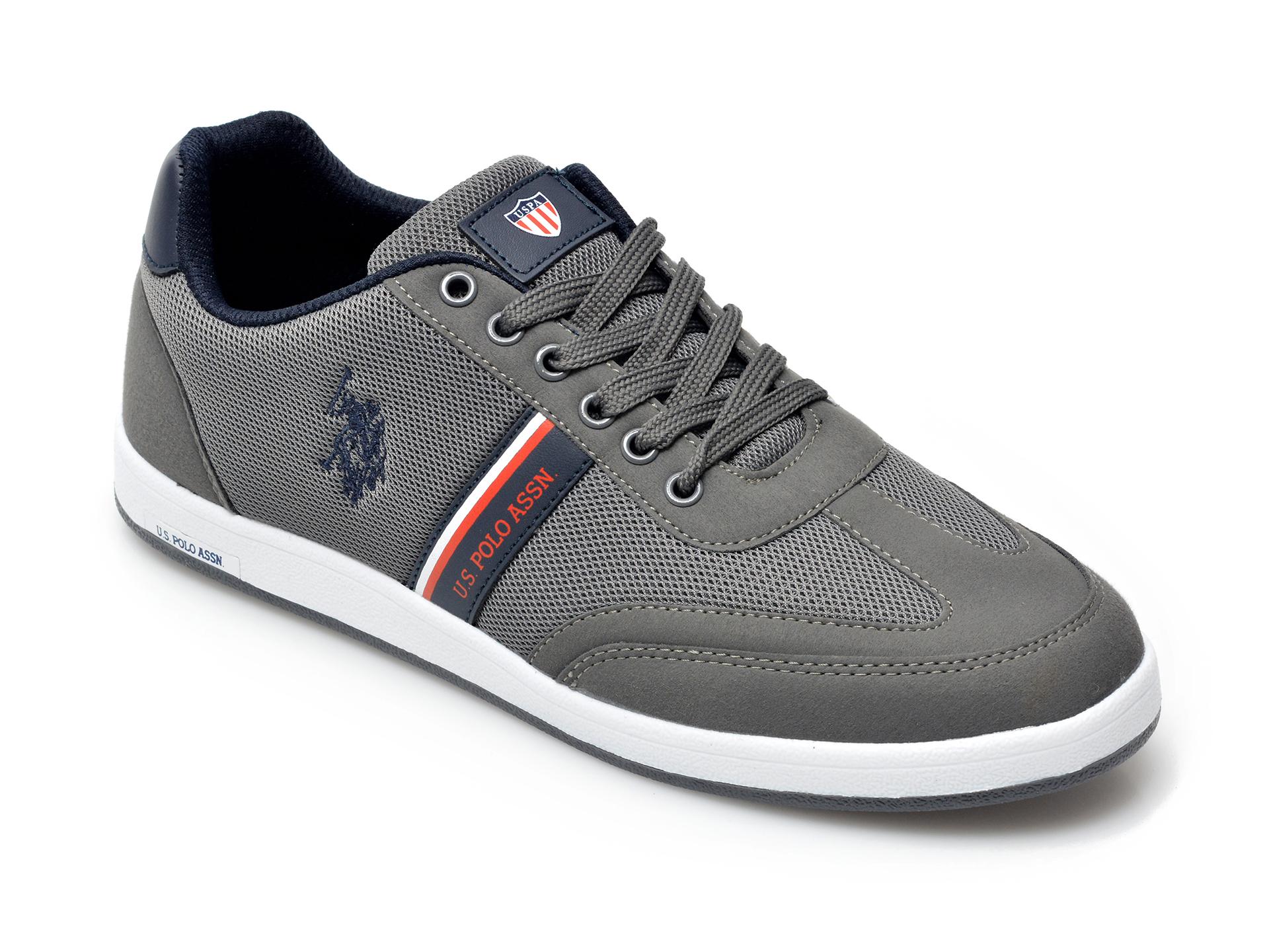 Pantofi sport US POLO ASSN gri, KARE1FX, din material textil si piele ecologica