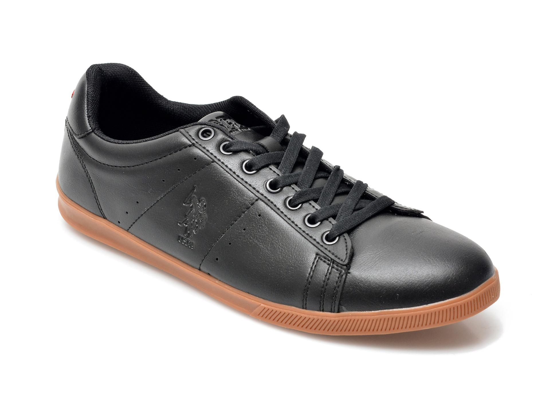 Pantofi sport US POLO ASSN negri, FRAN1FX, din piele ecologica