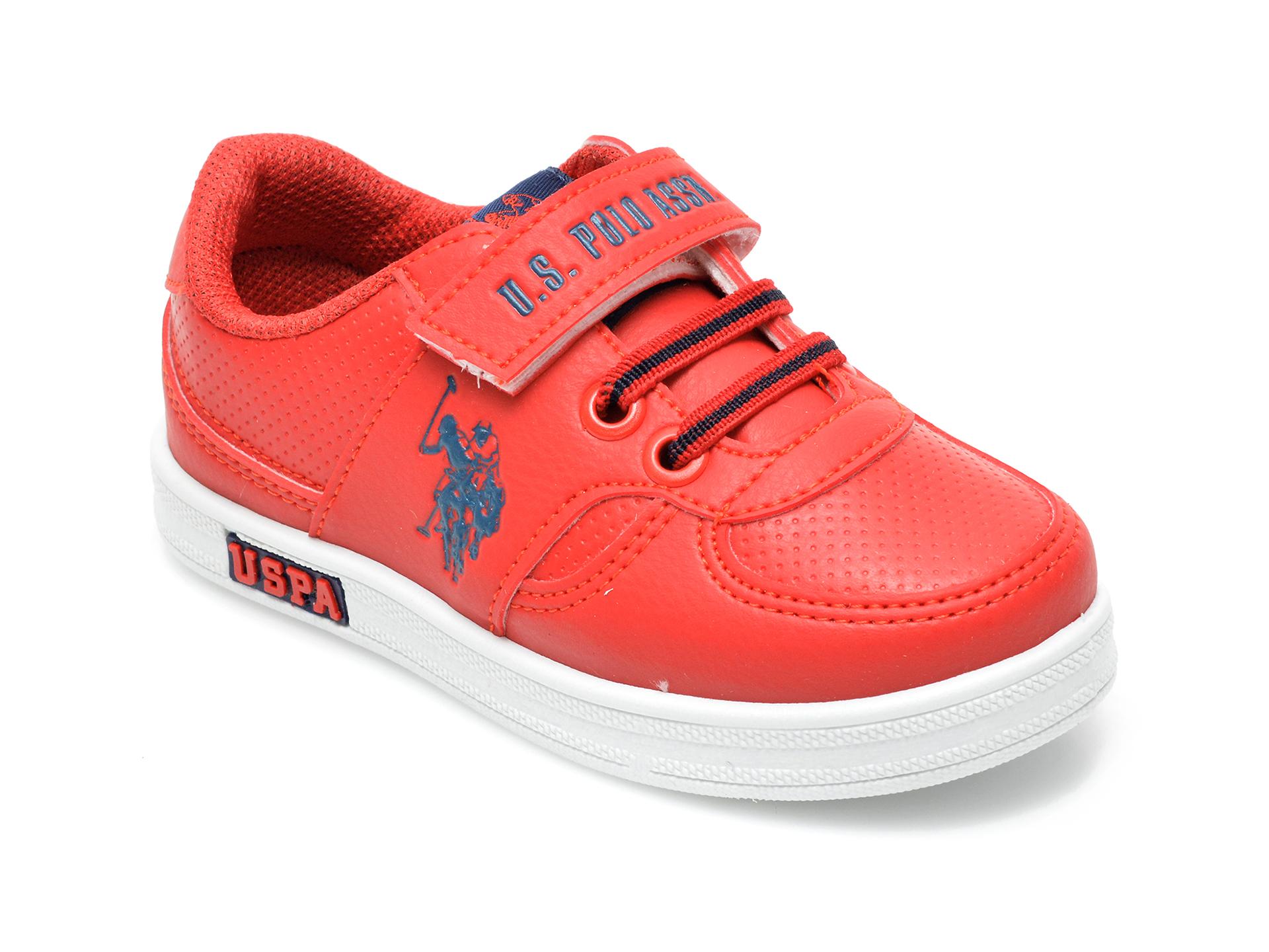 Pantofi sport US POLO ASSN rosii, CAME1FX, din piele ecologica