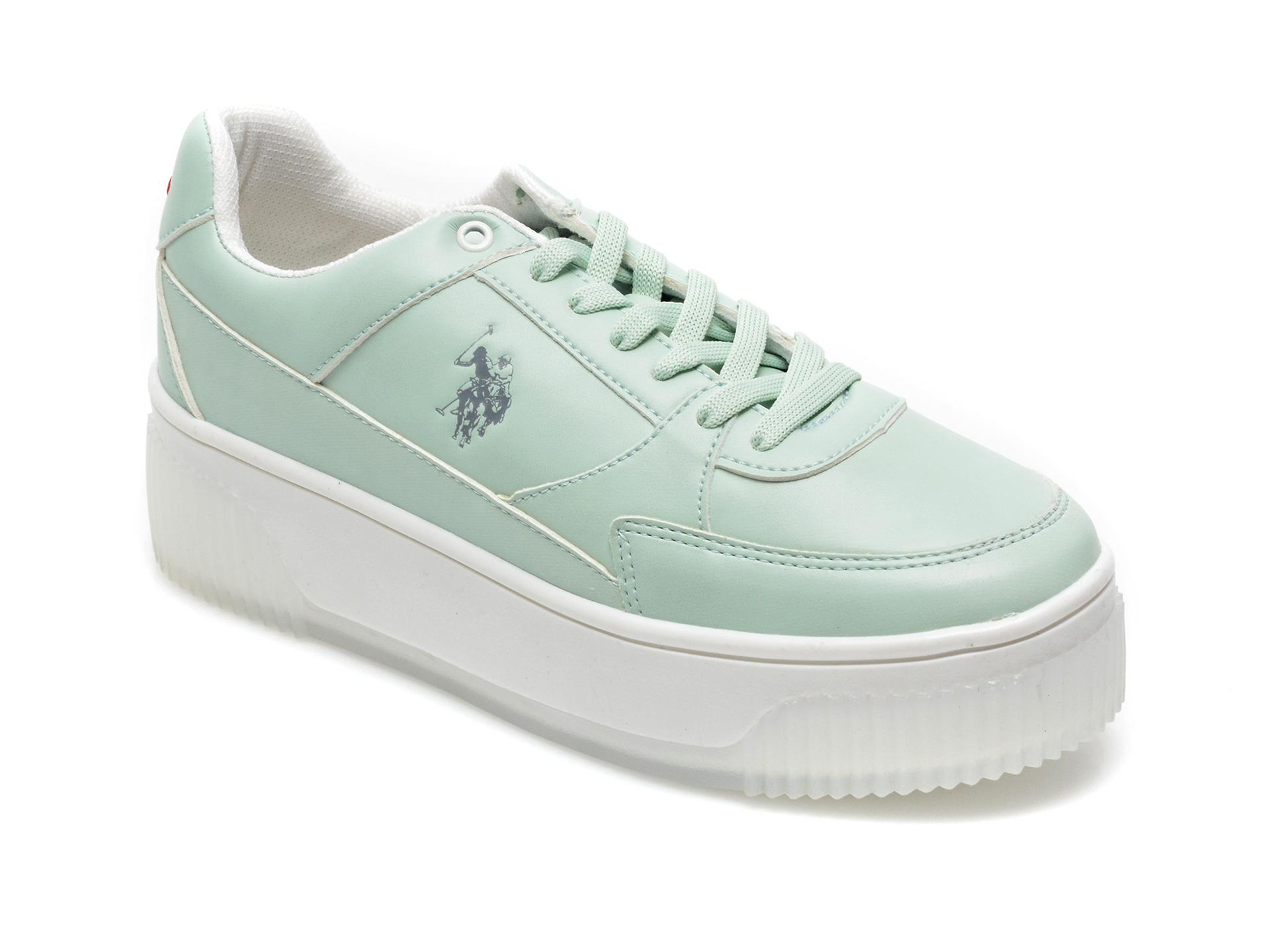 Pantofi sport US POLO ASSN verzi, MADO1FX, din piele ecologica