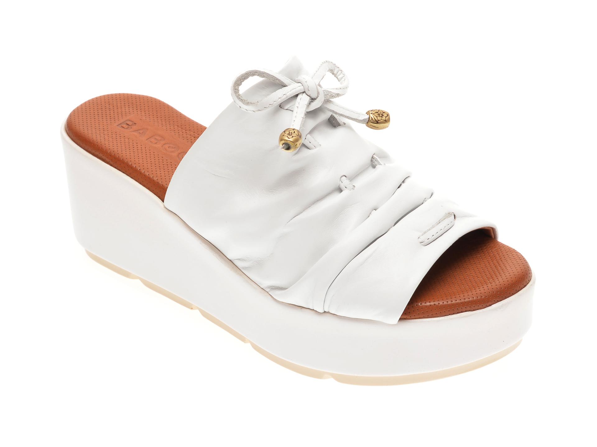 Papuci BABOOS albi, 2512, din piele naturala imagine