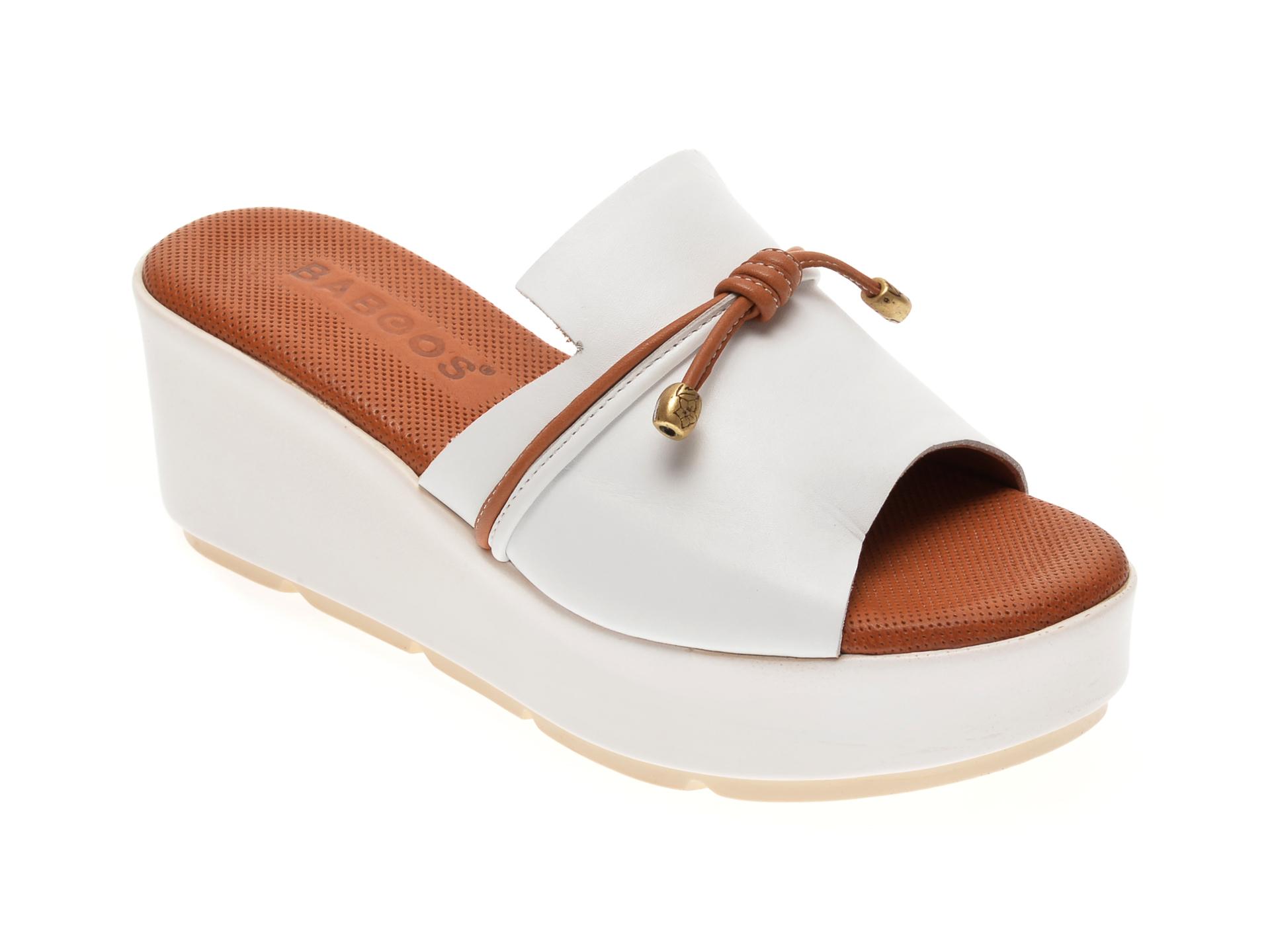 Papuci BABOOS albi, 2516, din piele intoarsa imagine