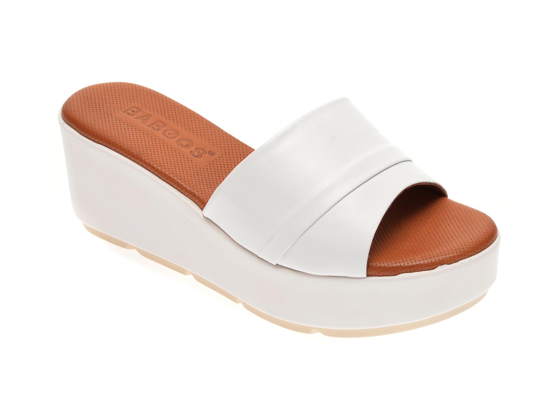Papuci BABOOS albi, 2517, din piele naturala imagine