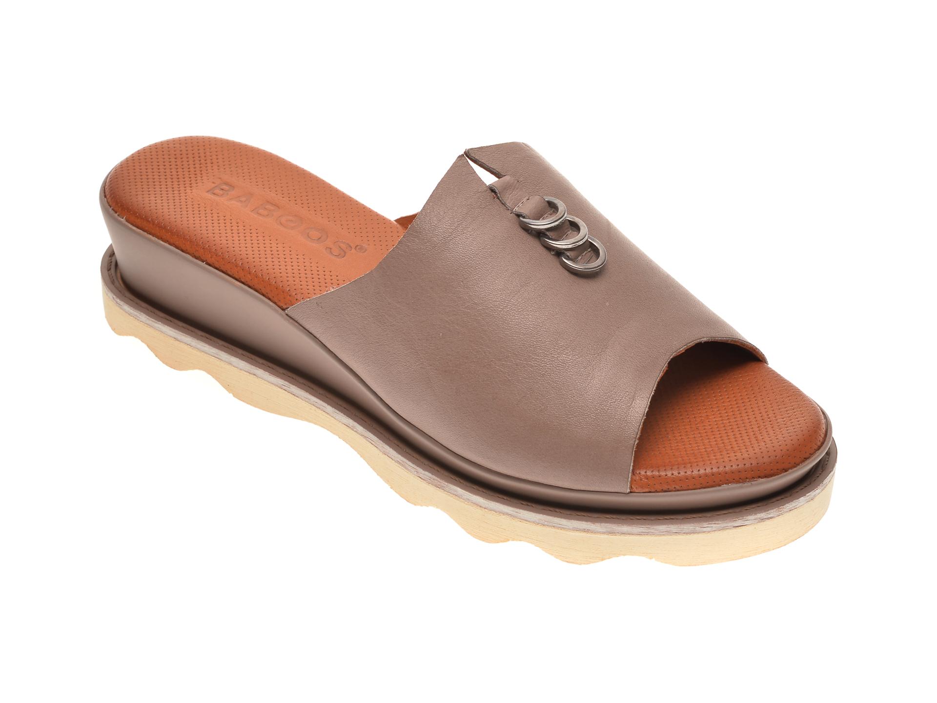 Papuci BABOOS gri, 0207, din piele naturala imagine