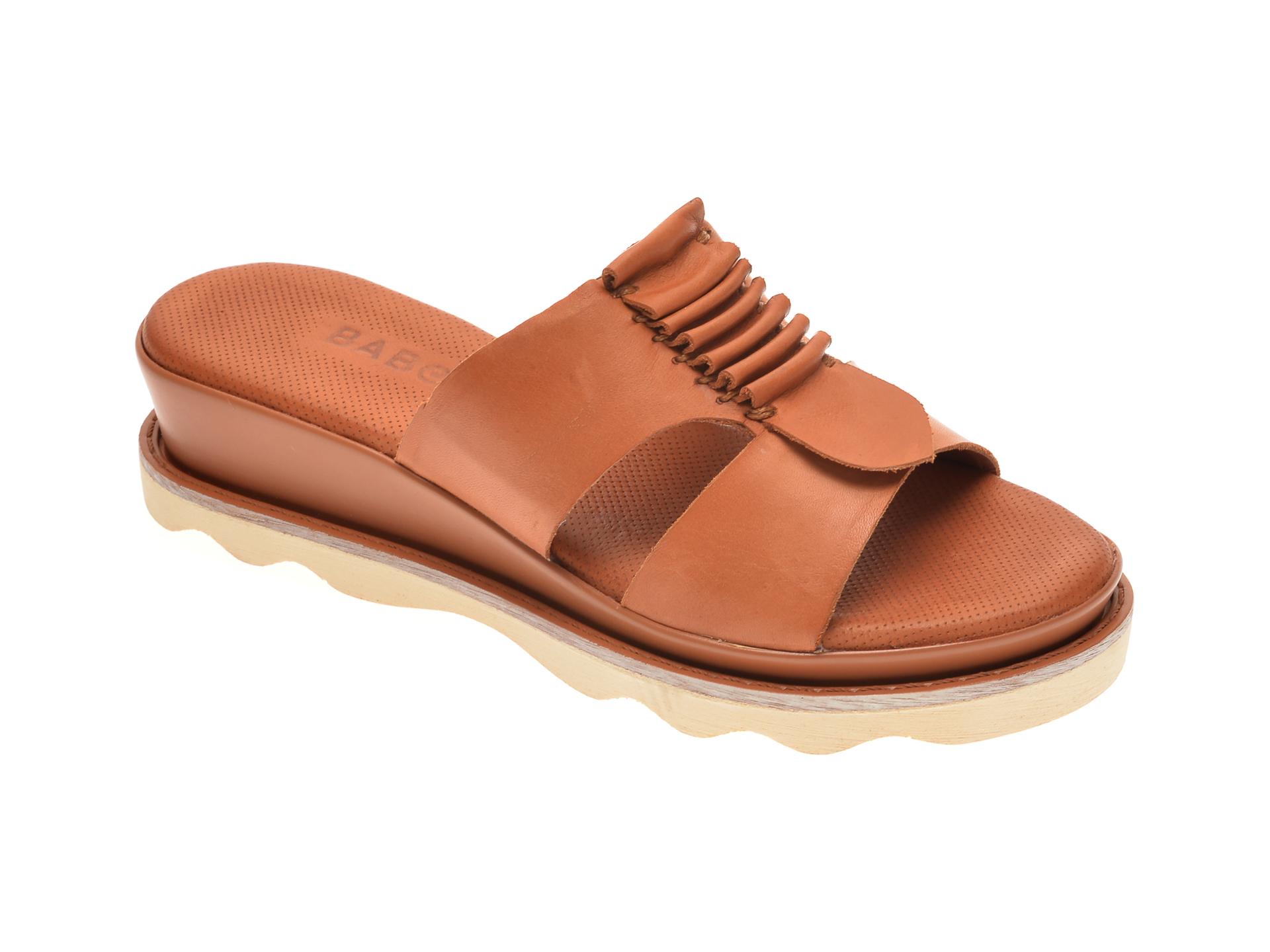Papuci BABOOS maro, 0203, din piele naturala imagine