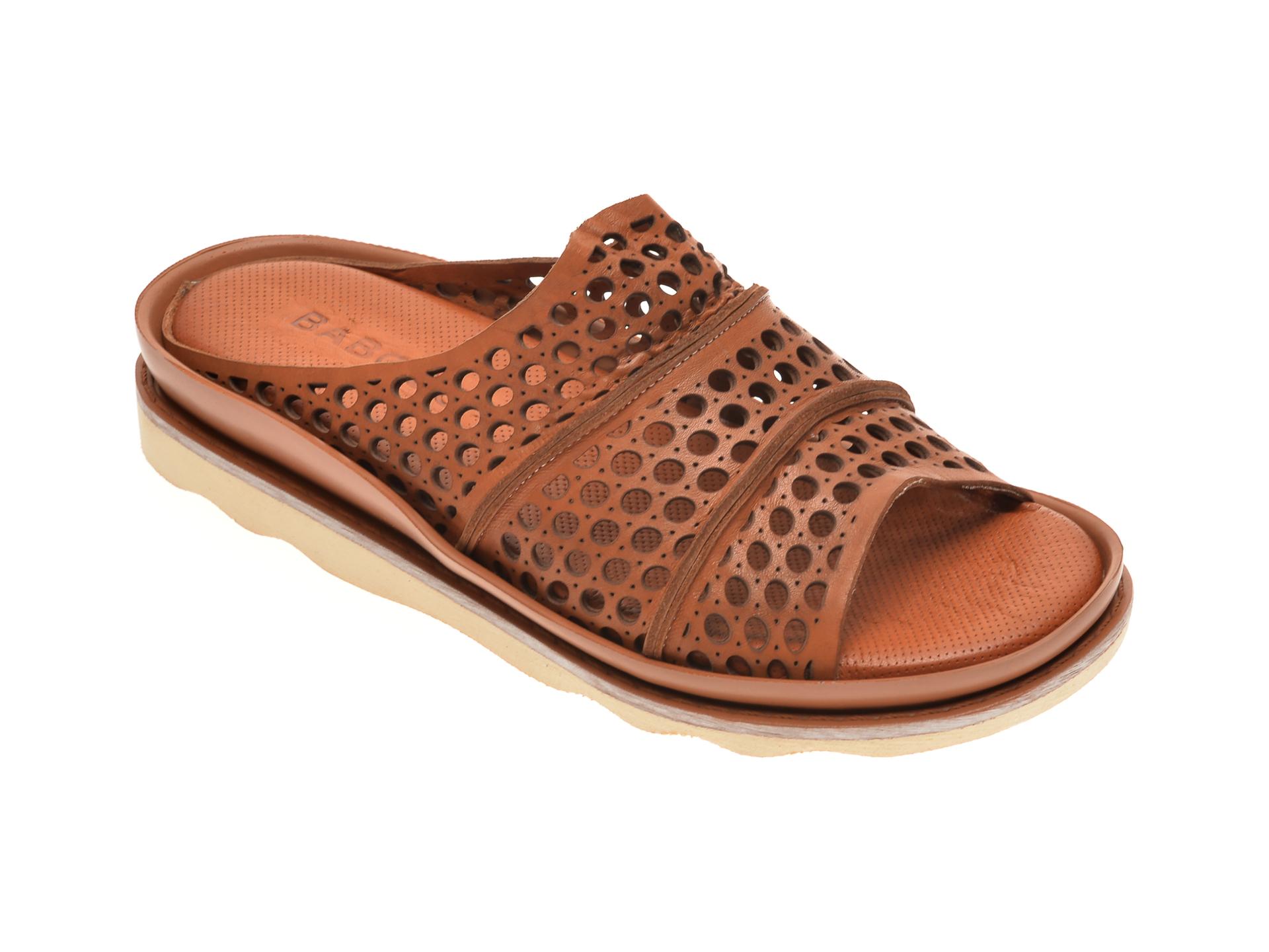 Papuci BABOOS maro, 0405, din piele naturala imagine