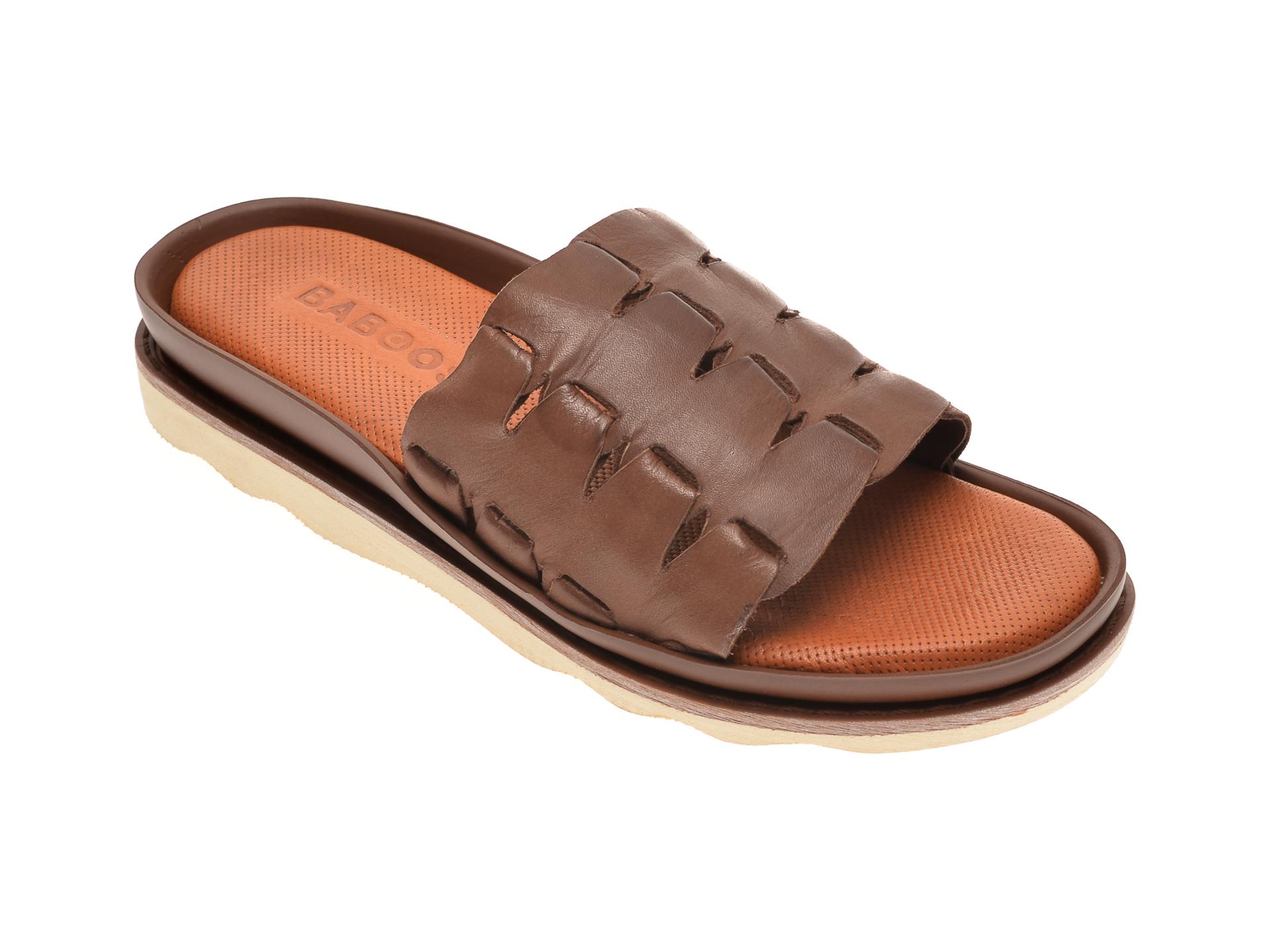 Papuci BABOOS maro, 0407, din piele naturala imagine