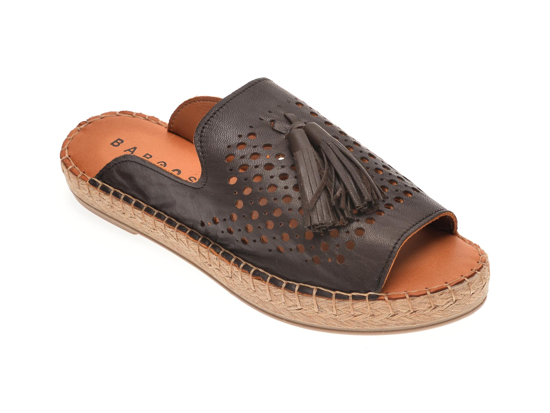 Papuci BABOOS maro inchis, R01, din piele naturala imagine
