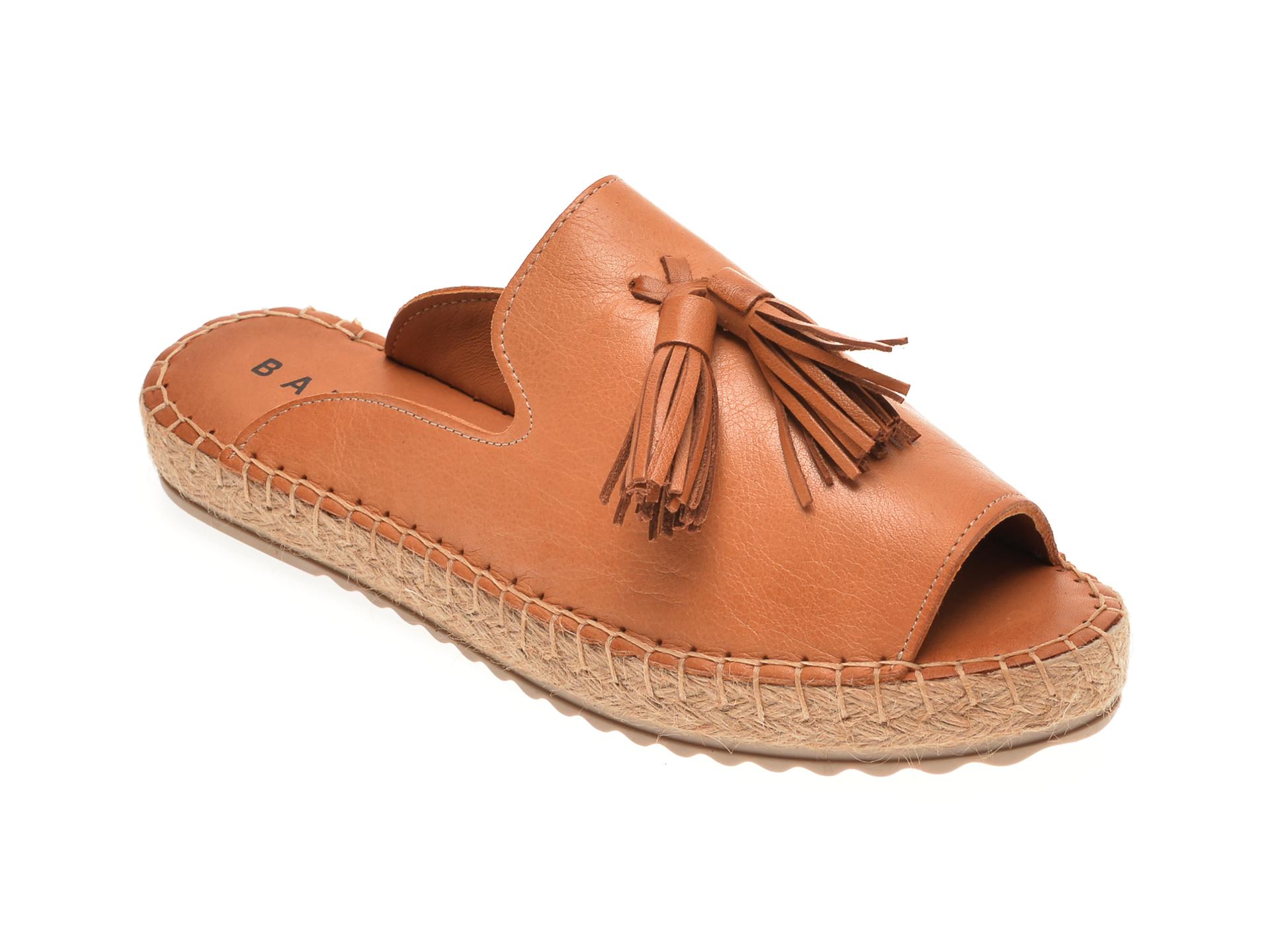 Papuci BABOOS maro, R07, din piele naturala imagine