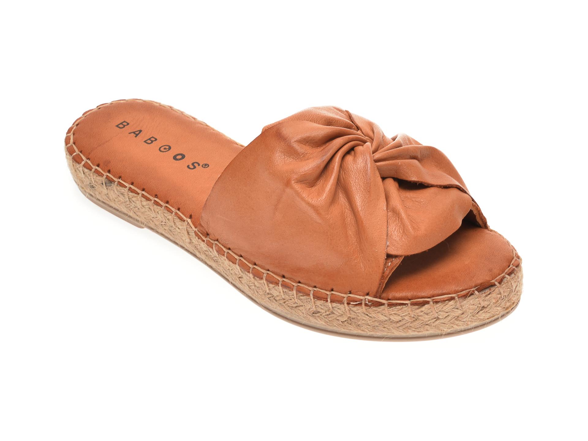 Papuci BABOOS maro, R08, din piele naturala imagine