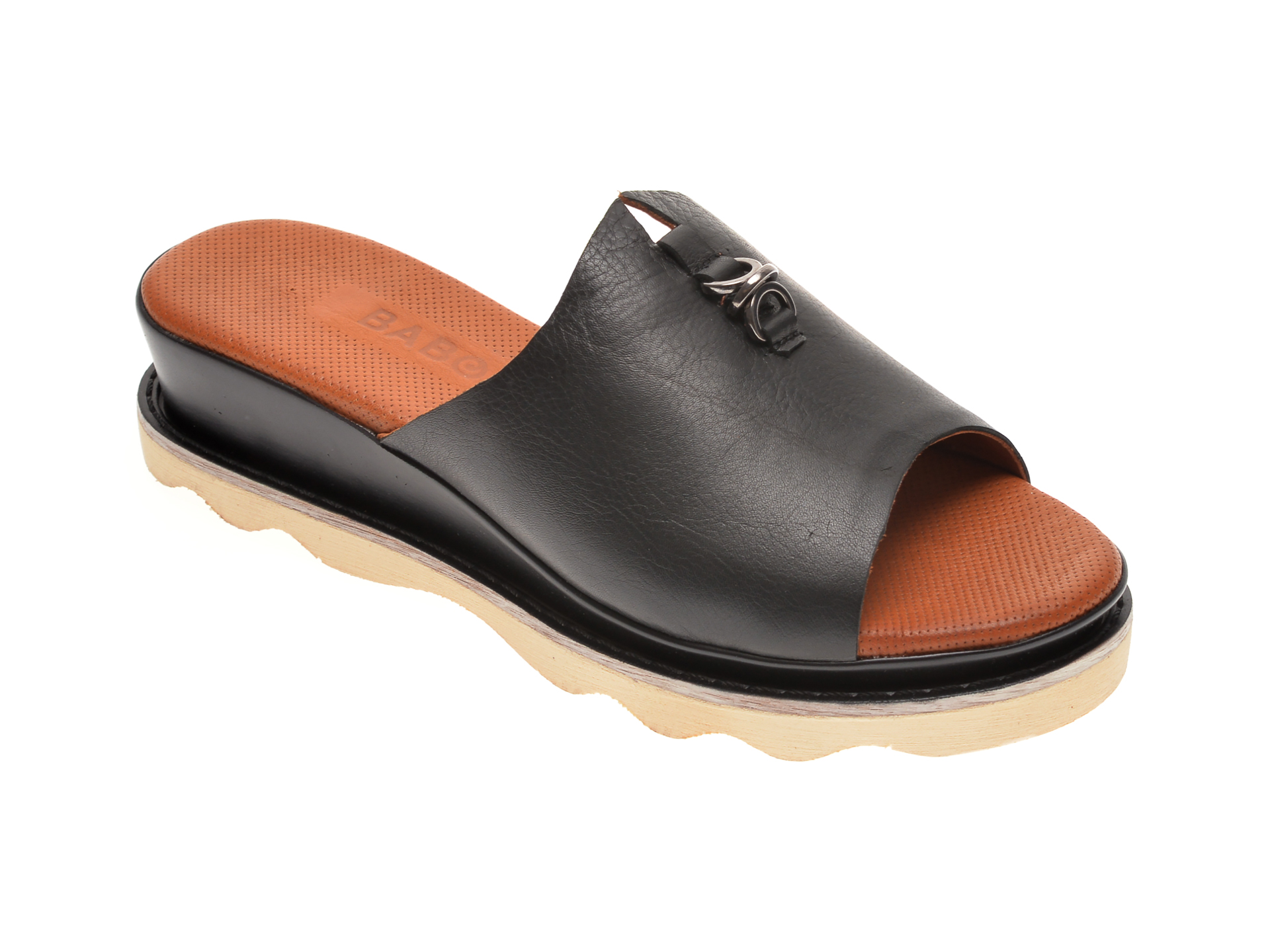 Papuci BABOOS negri, 0207, din piele naturala imagine