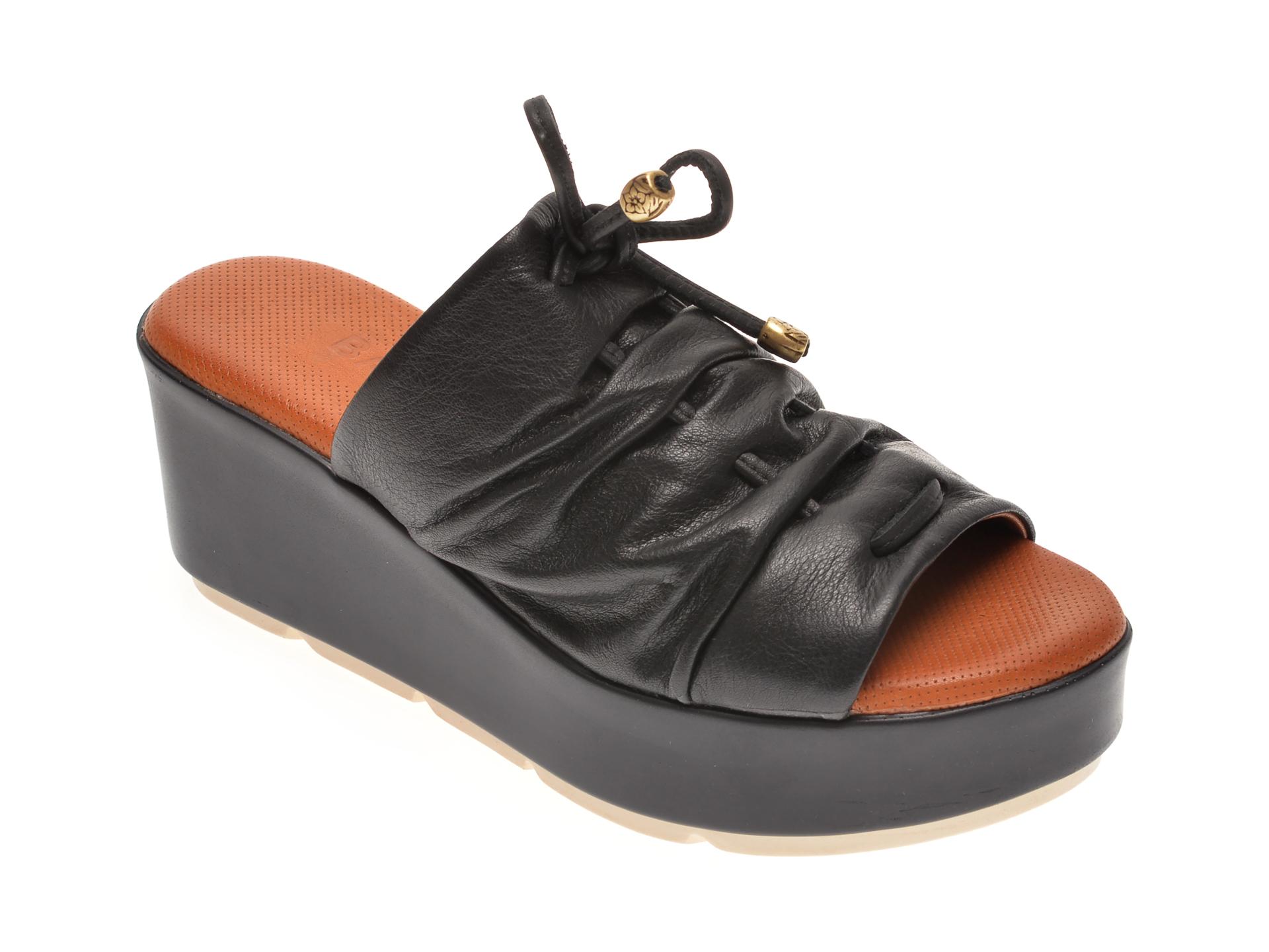 Papuci BABOOS negri, 2512, din piele naturala imagine