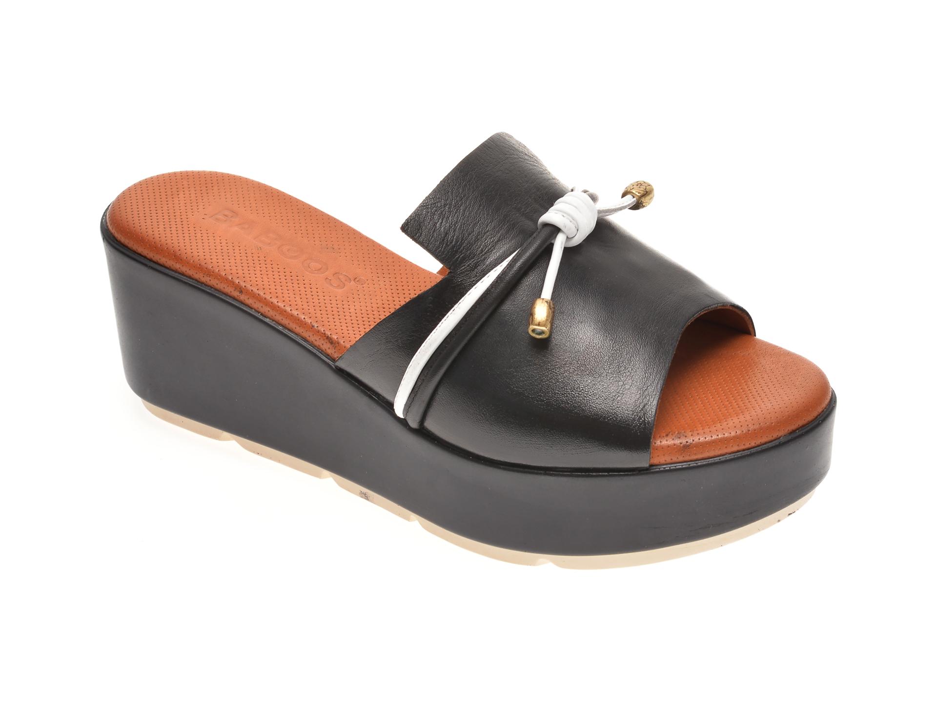 Papuci BABOOS negri, 2516, din piele naturala imagine
