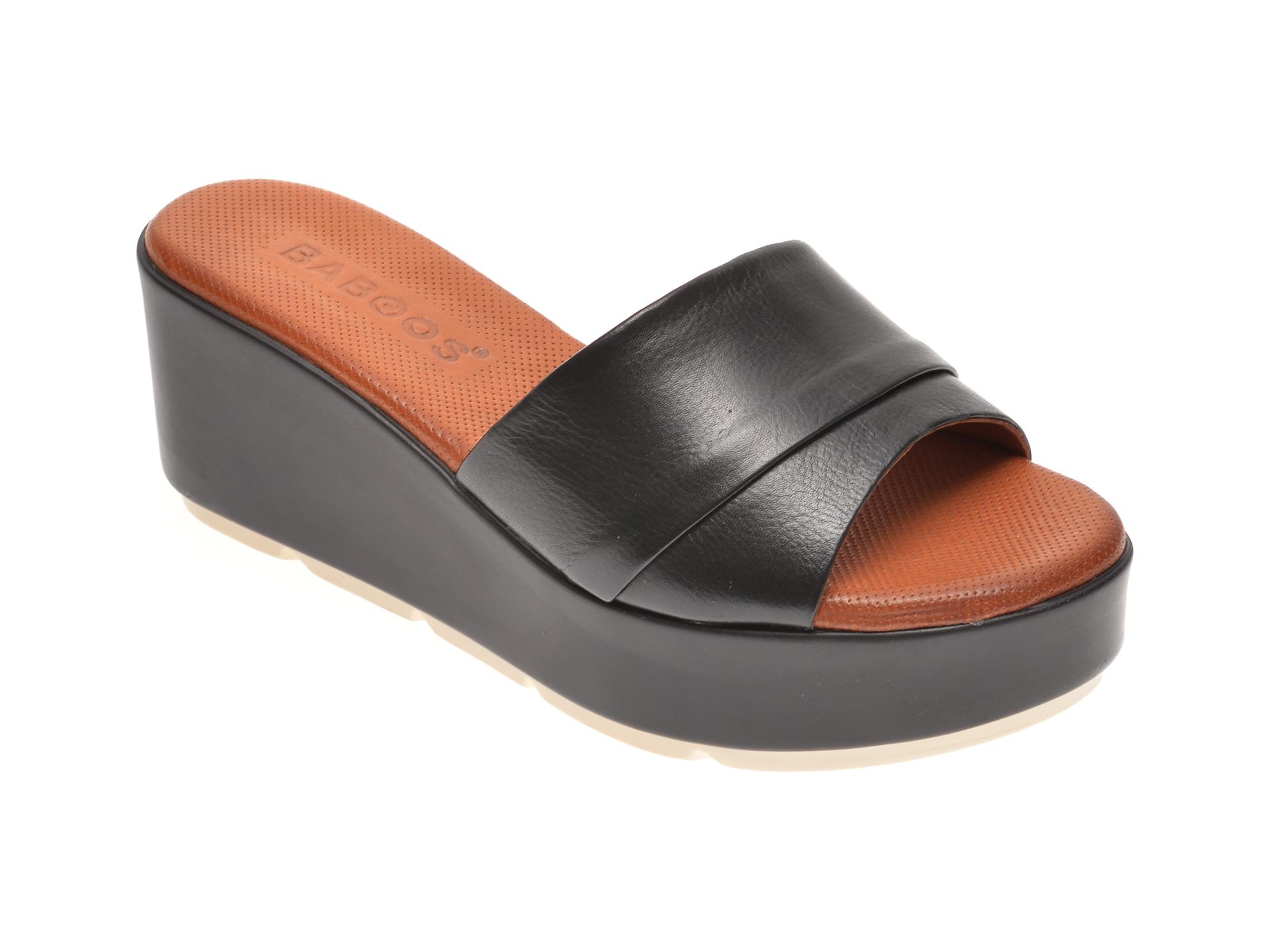 Papuci BABOOS negri, 2517, din piele naturala imagine