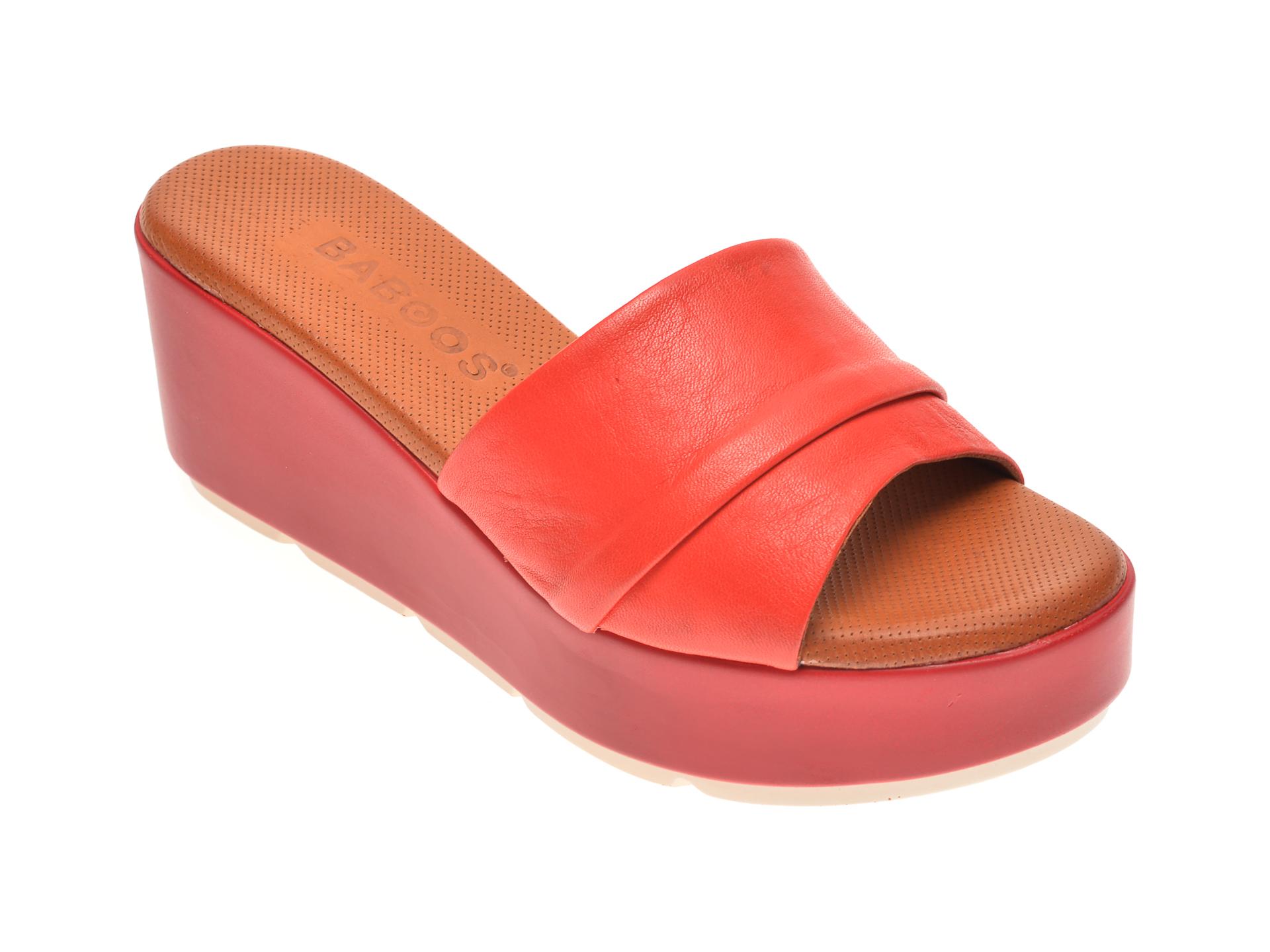 Papuci BABOOS rosii, 2517, din piele naturala imagine