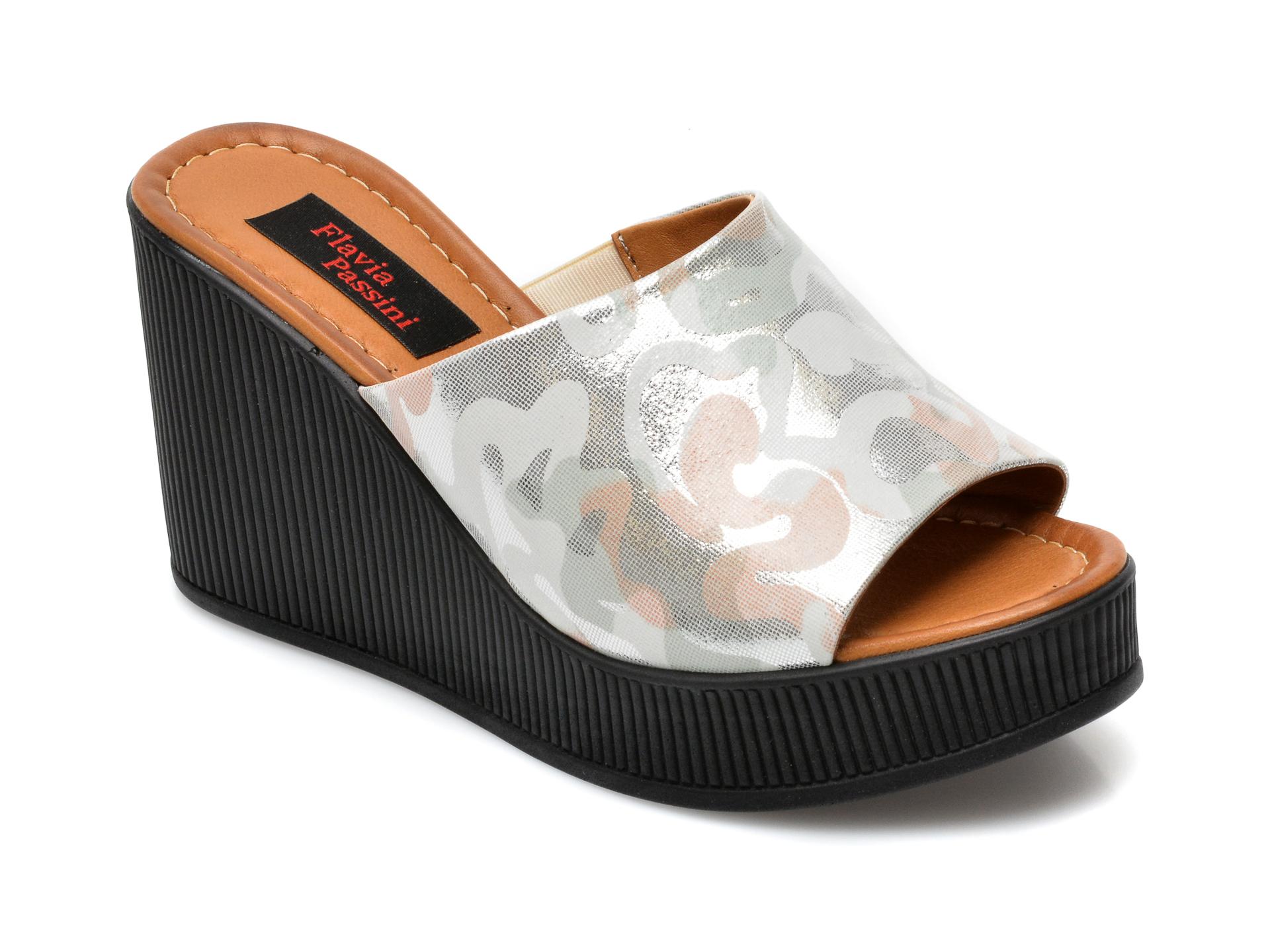 Papuci FLAVIA PASSINI argintii, 1062GK, din piele naturala