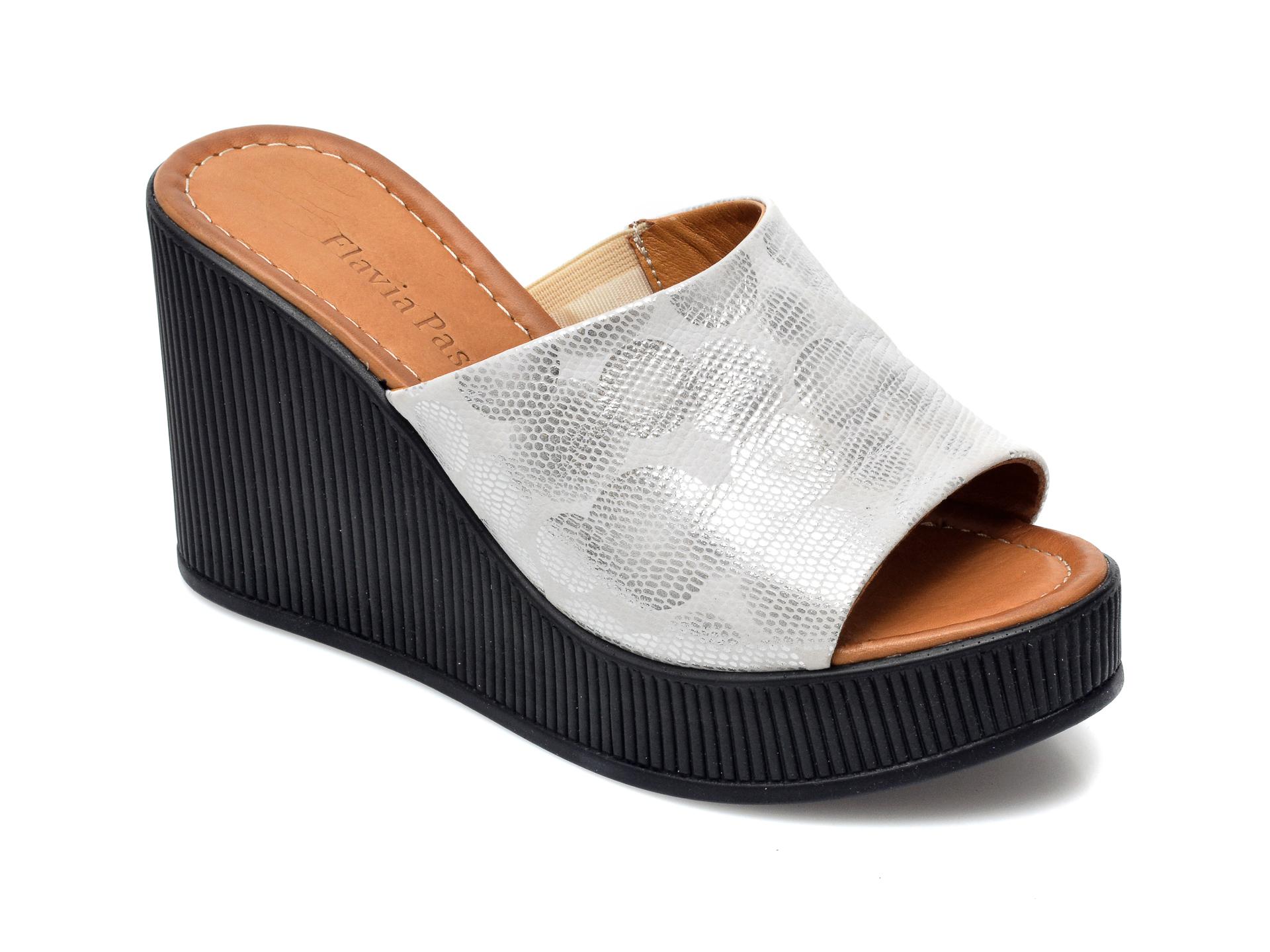 Papuci FLAVIA PASSINI argintii, 1062TT, din piele naturala