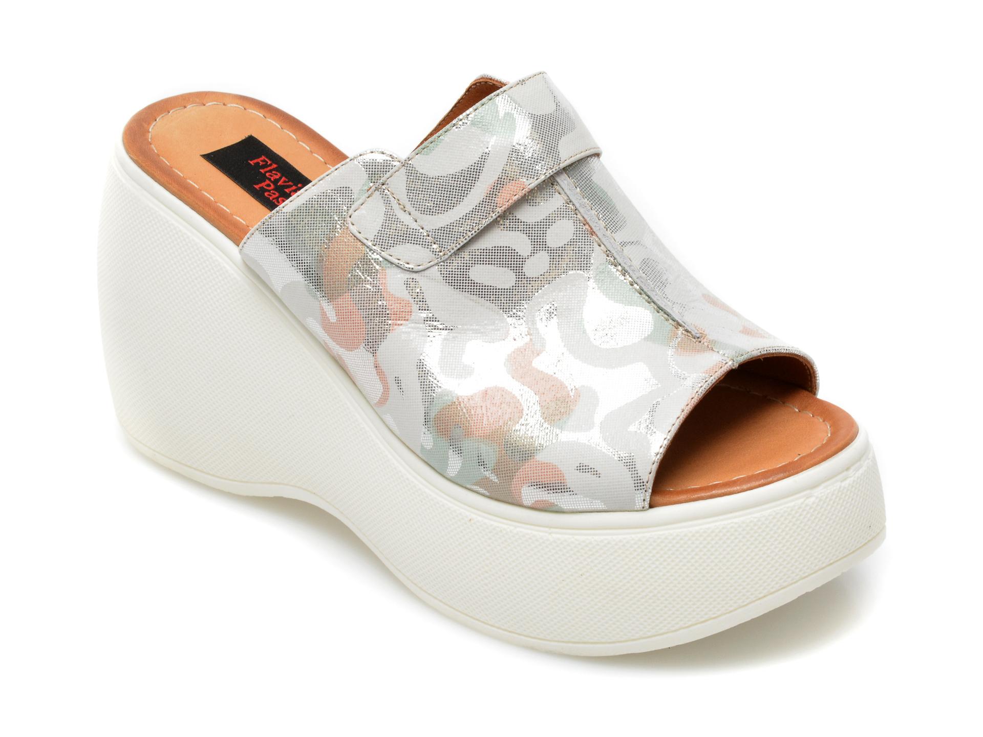 Papuci FLAVIA PASSINI argintii, 2450GP, din piele naturala