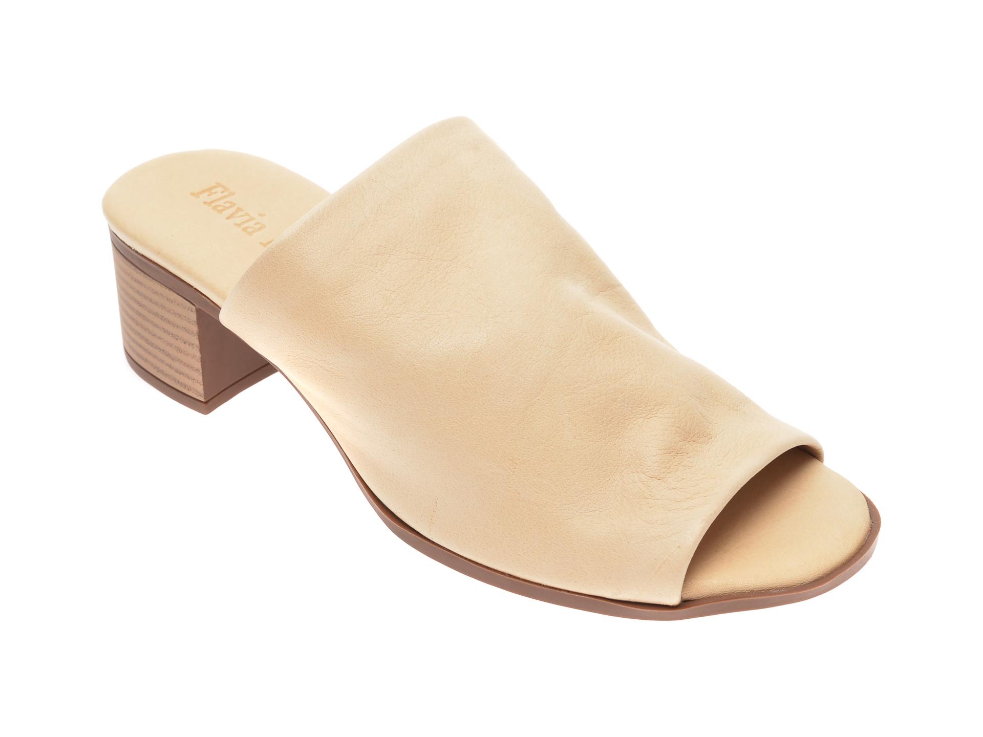 Papuci FLAVIA PASSINI bej, 426700, din piele naturala imagine