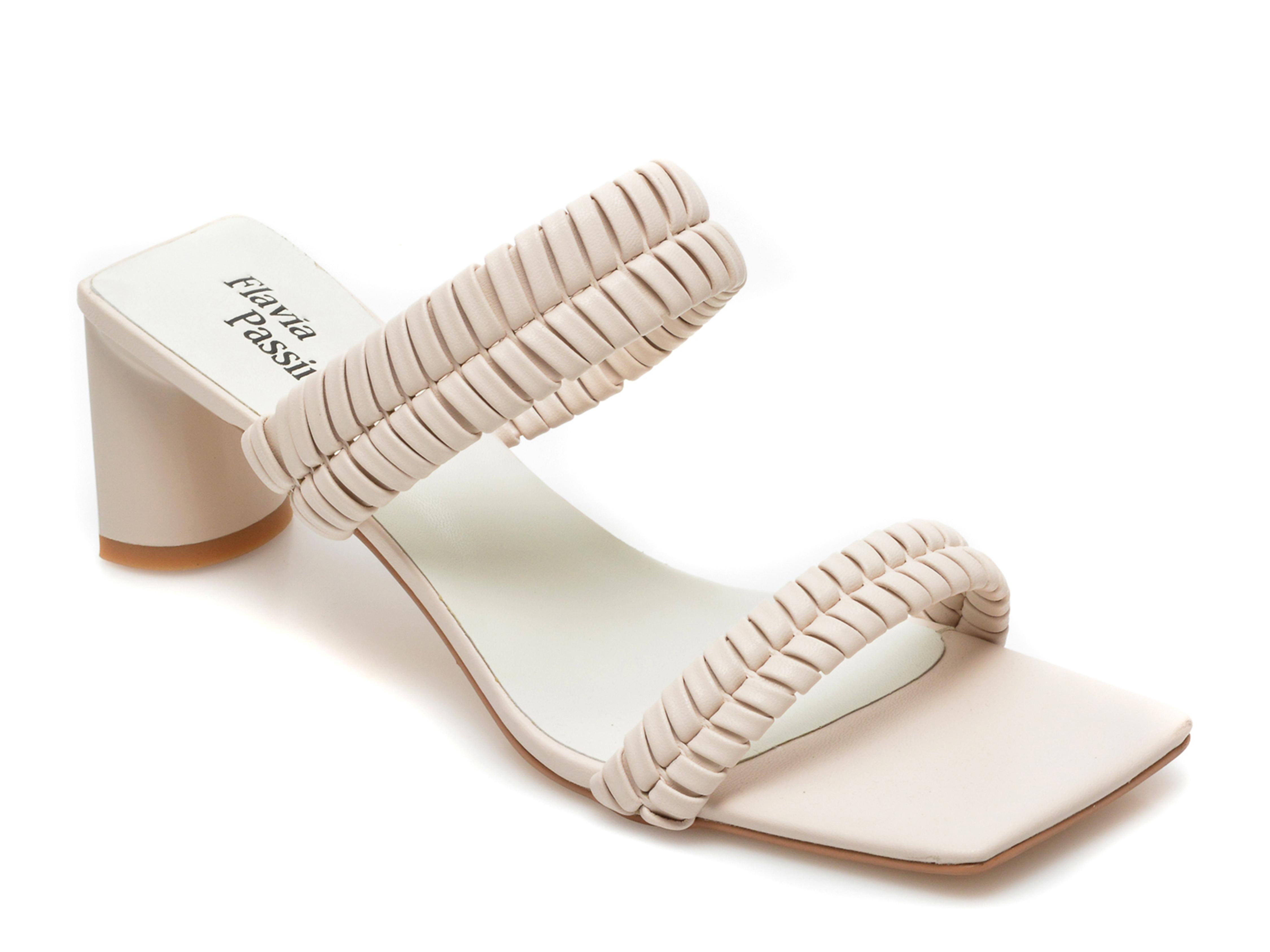 Papuci FLAVIA PASSINI bej, LD30RT3, din piele ecologica
