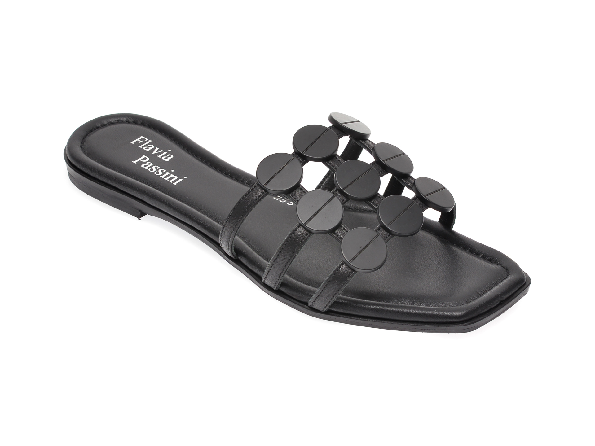 Papuci FLAVIA PASSINI negri, 253BOGN, din piele naturala