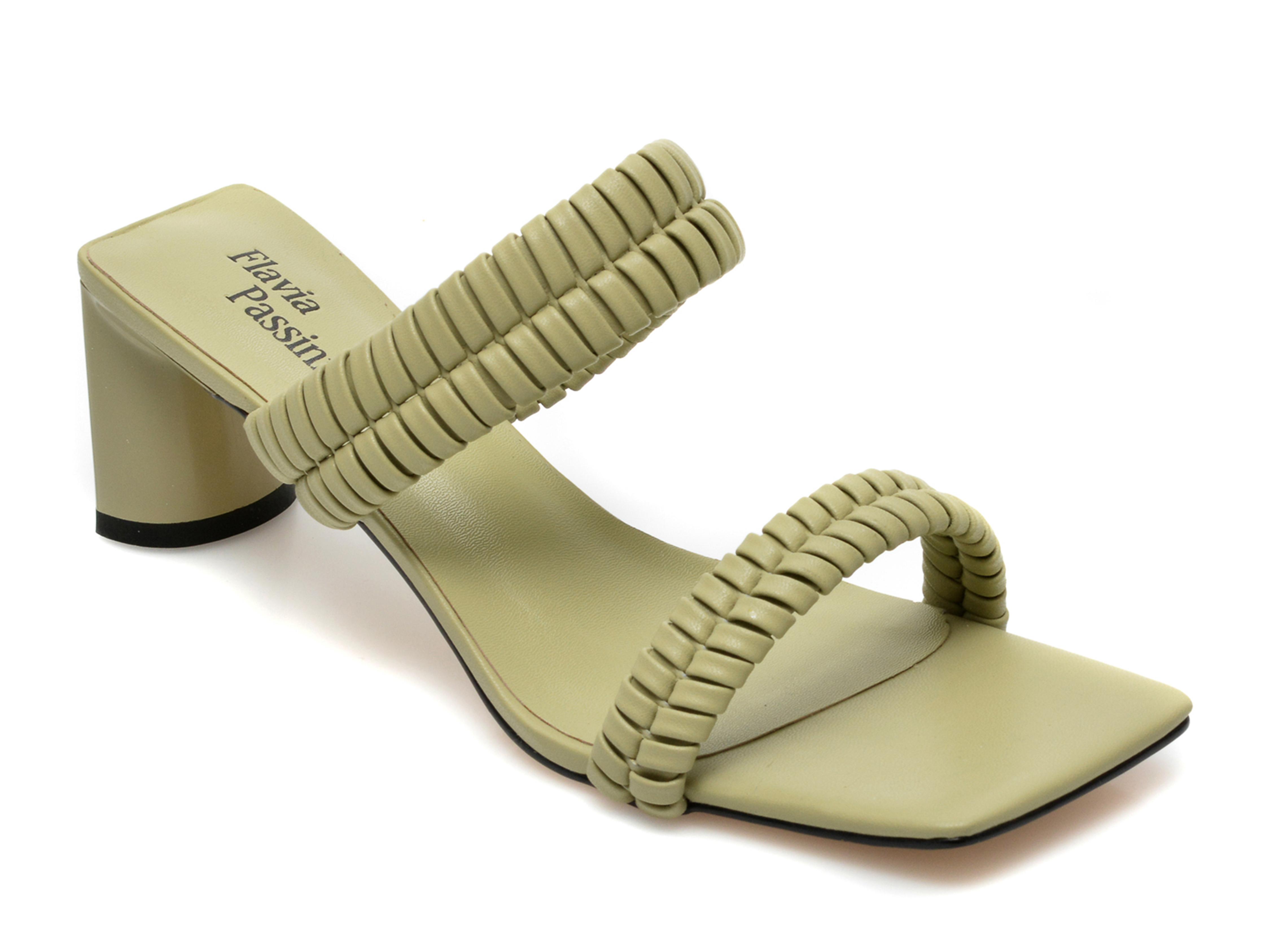 Papuci FLAVIA PASSINI verzi, LD30RT3, din piele ecologica