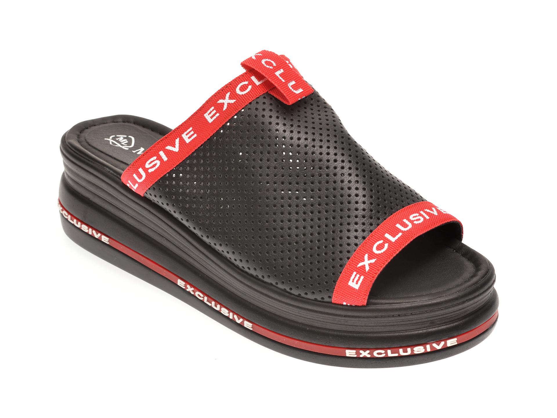Papuci MISS LIZA negri, 1182290, din piele naturala imagine
