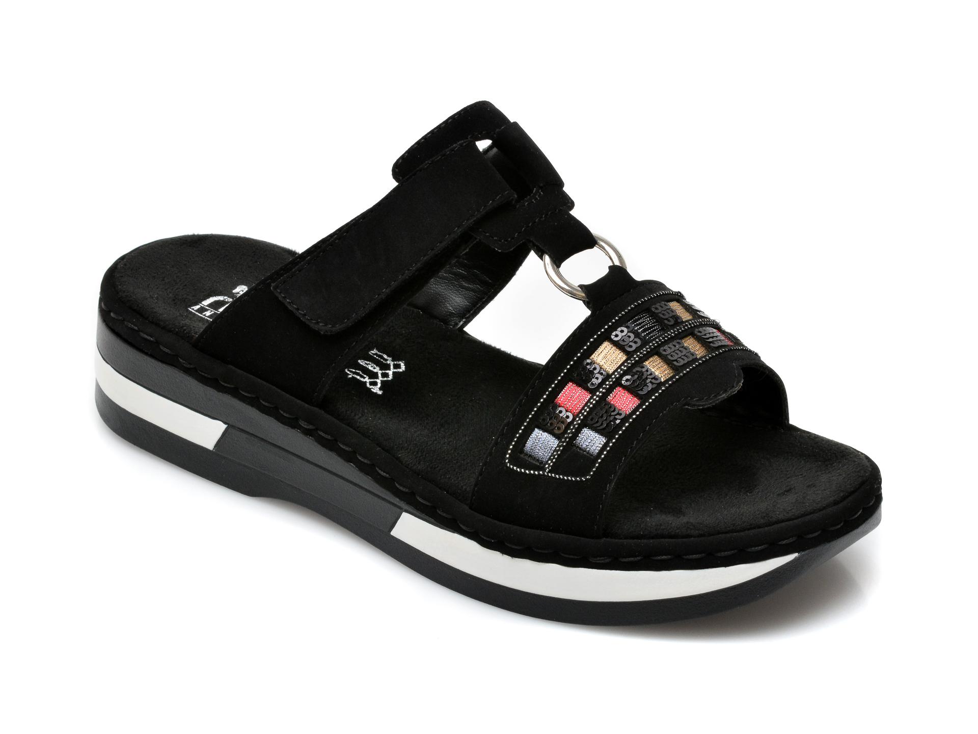 Papuci RIEKER negri, V5932, din piele ecologica