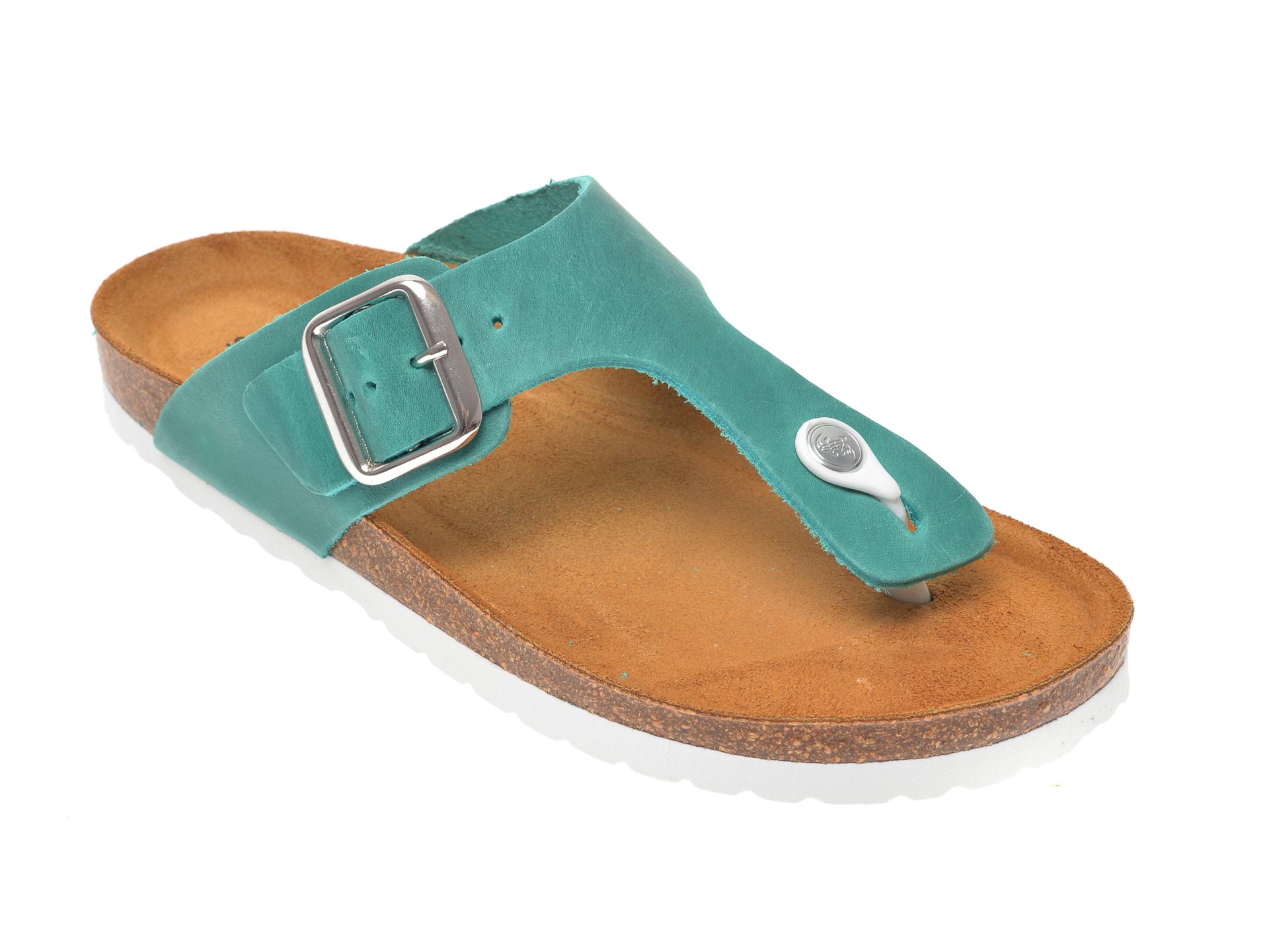 Papuci SALAMANDER verzi, 13014, din piele naturala imagine
