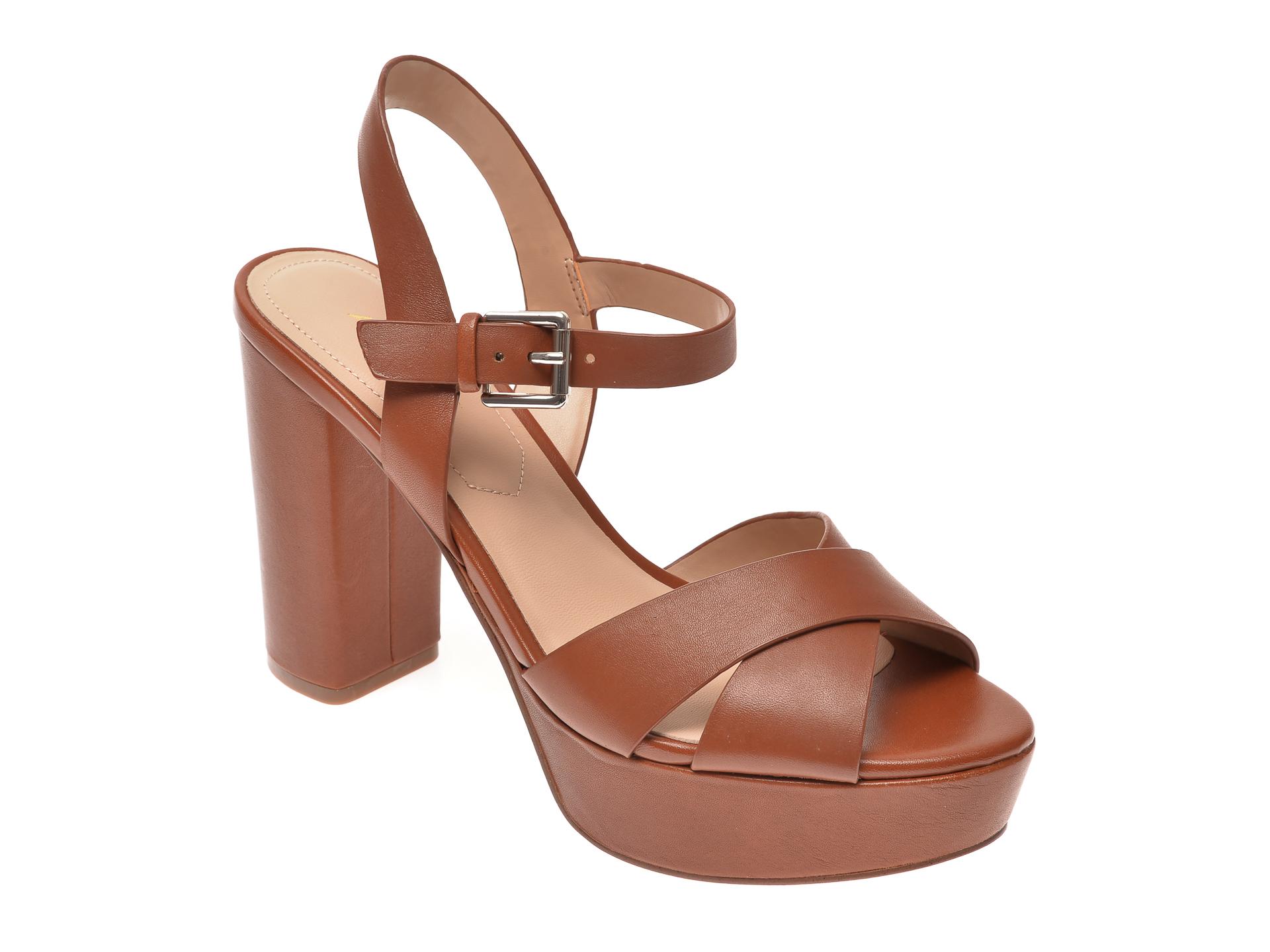 Sandale ALDO maro, Platina210, din piele naturala imagine