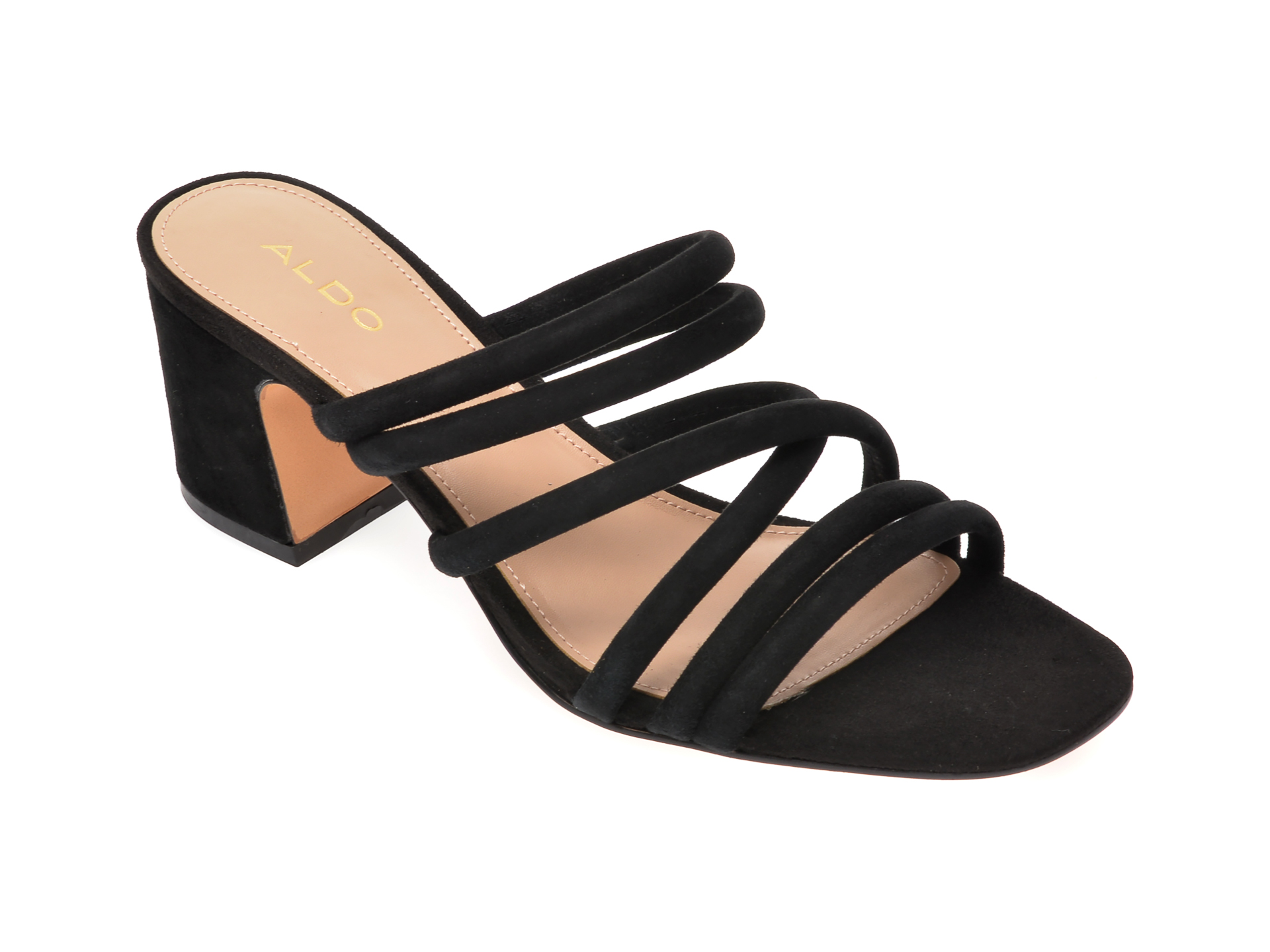 Sandale ALDO negre, Atlanta001, din piele intoarsa imagine