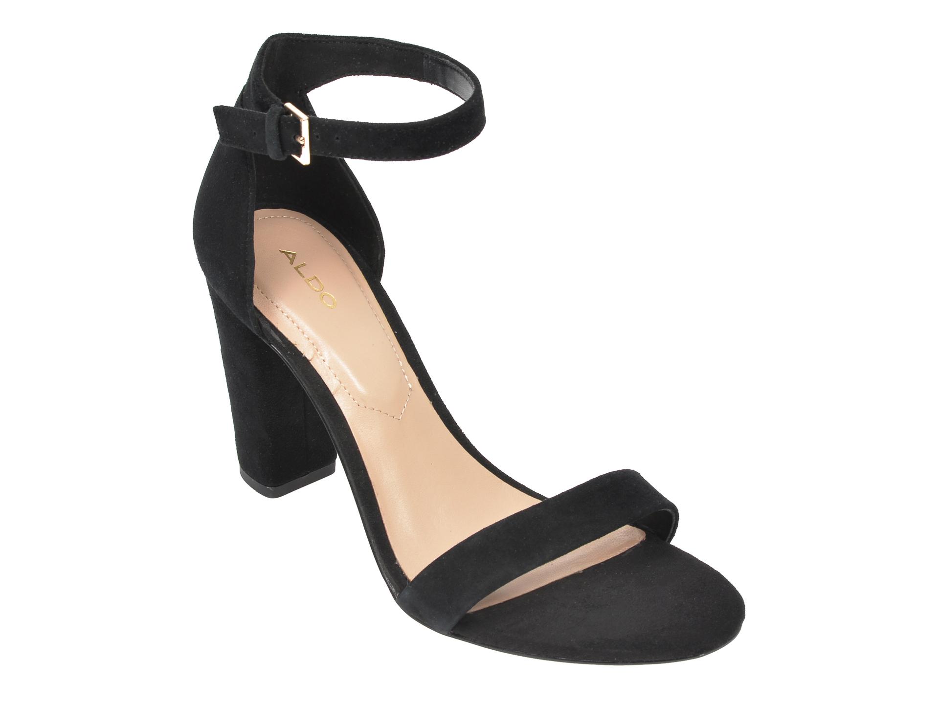 Sandale ALDO negre, Jerayclya001, din piele intoarsa