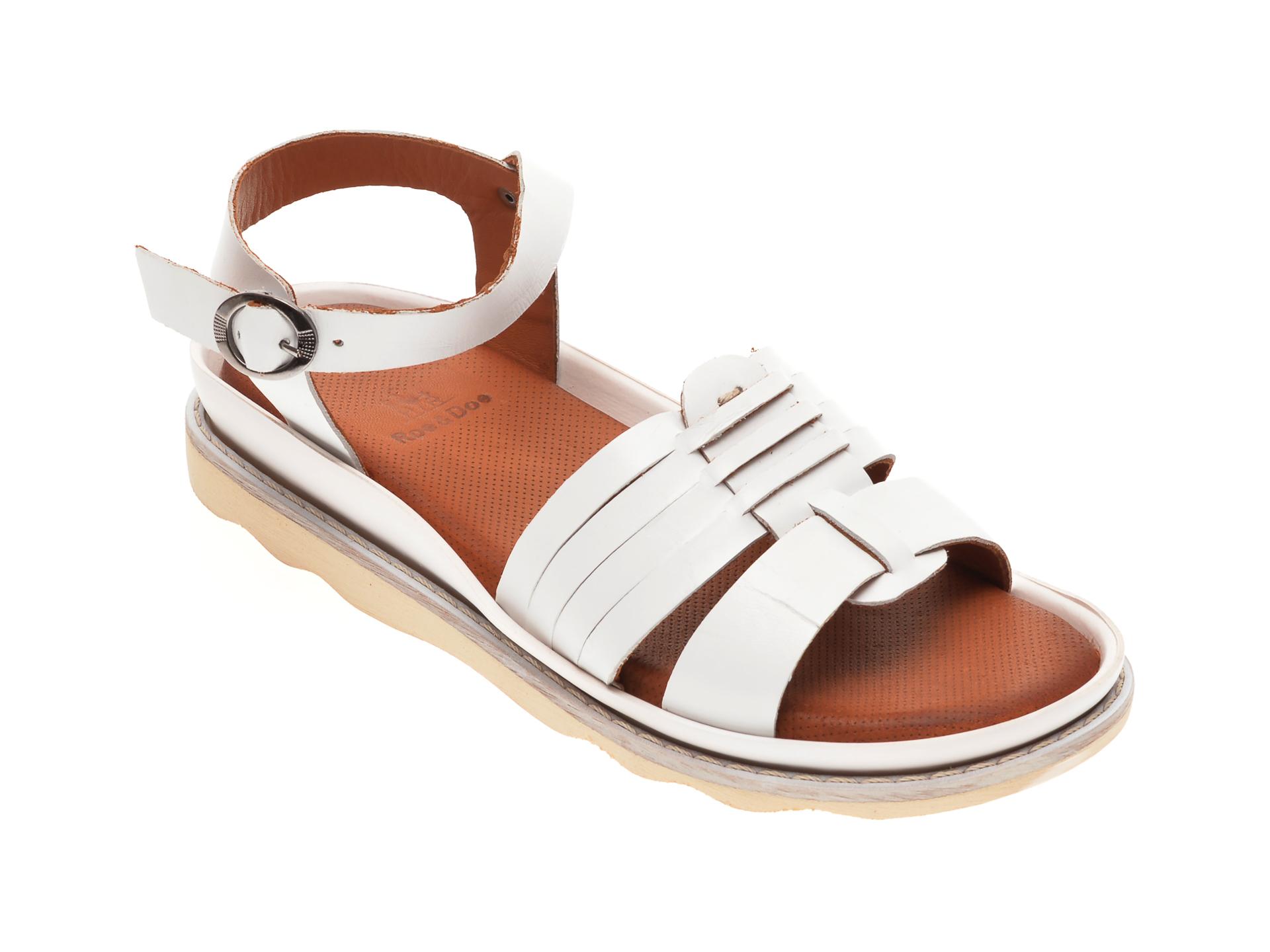 Sandale BABOOS albe, 0404, din piele naturala imagine