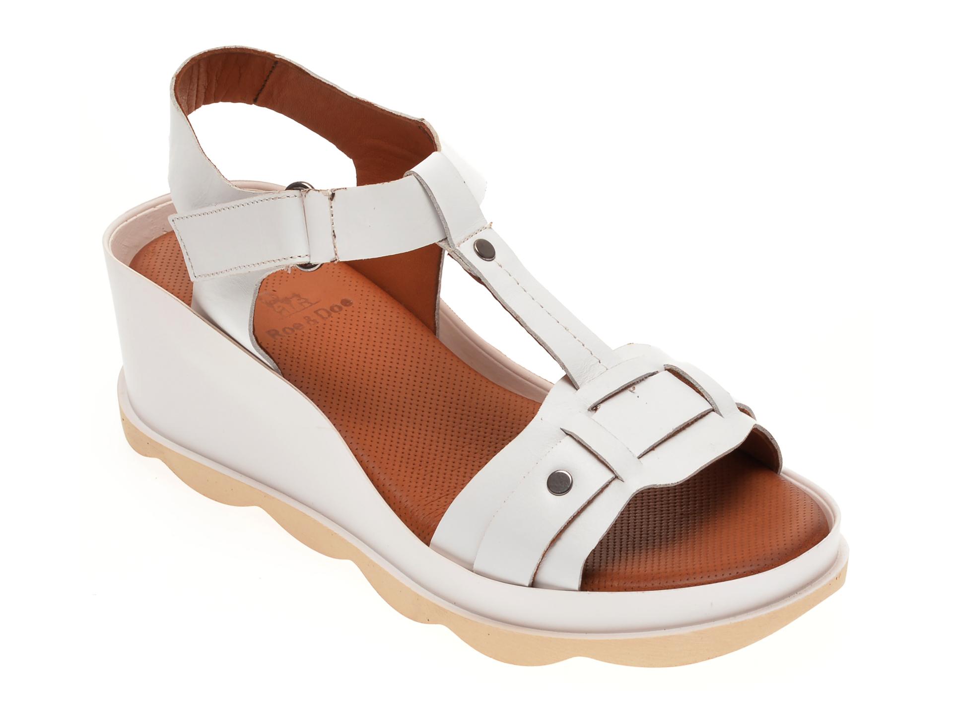 Sandale BABOOS albe, 0502, din piele naturala imagine