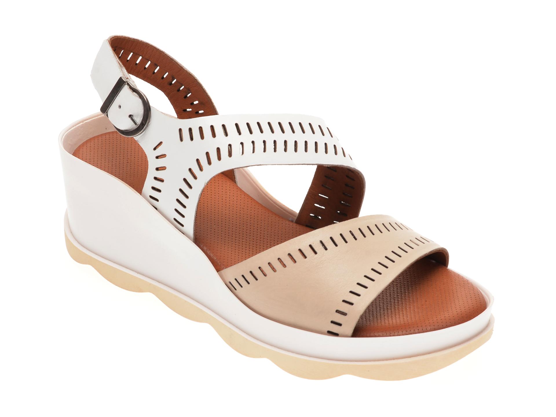 Sandale BABOOS albe, 0504, din piele naturala imagine