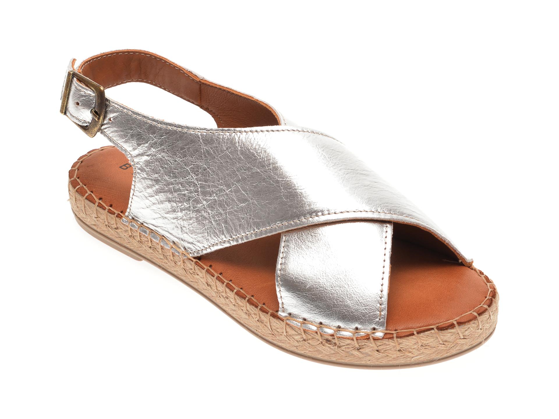 Sandale BABOOS argintii, R05, din piele naturala imagine