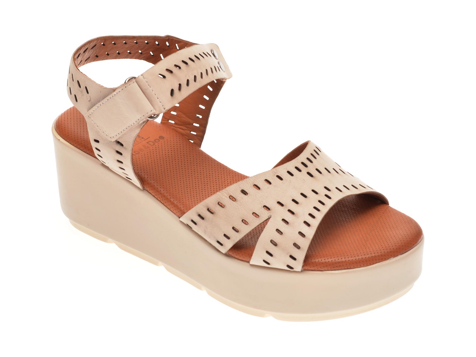 Sandale BABOOS bej, 2521, din piele naturala imagine