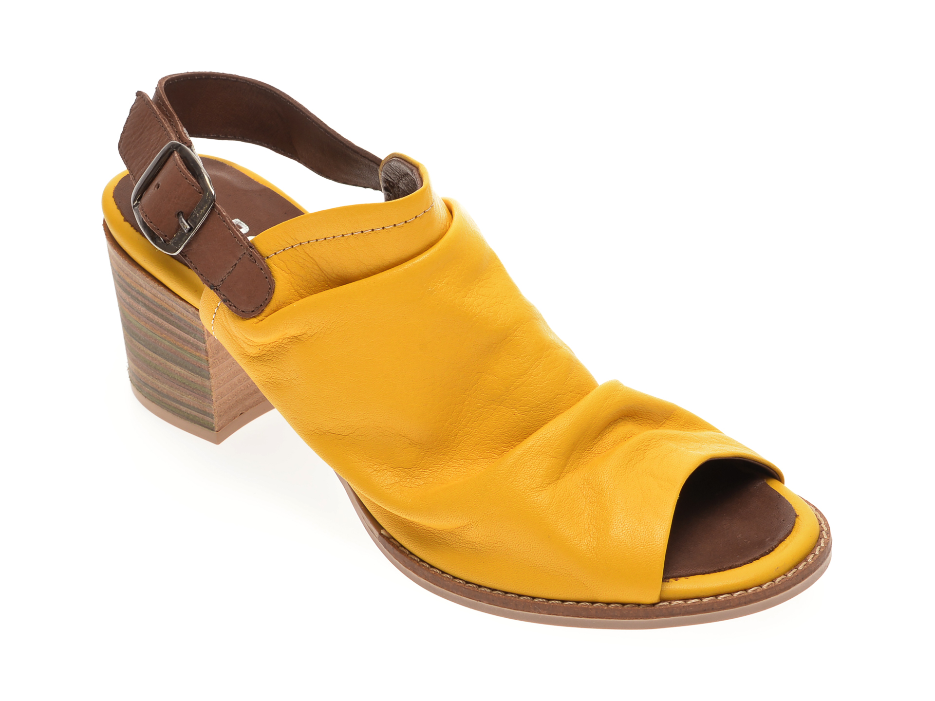 Sandale BABOOS galbene, 1702, din piele naturala imagine