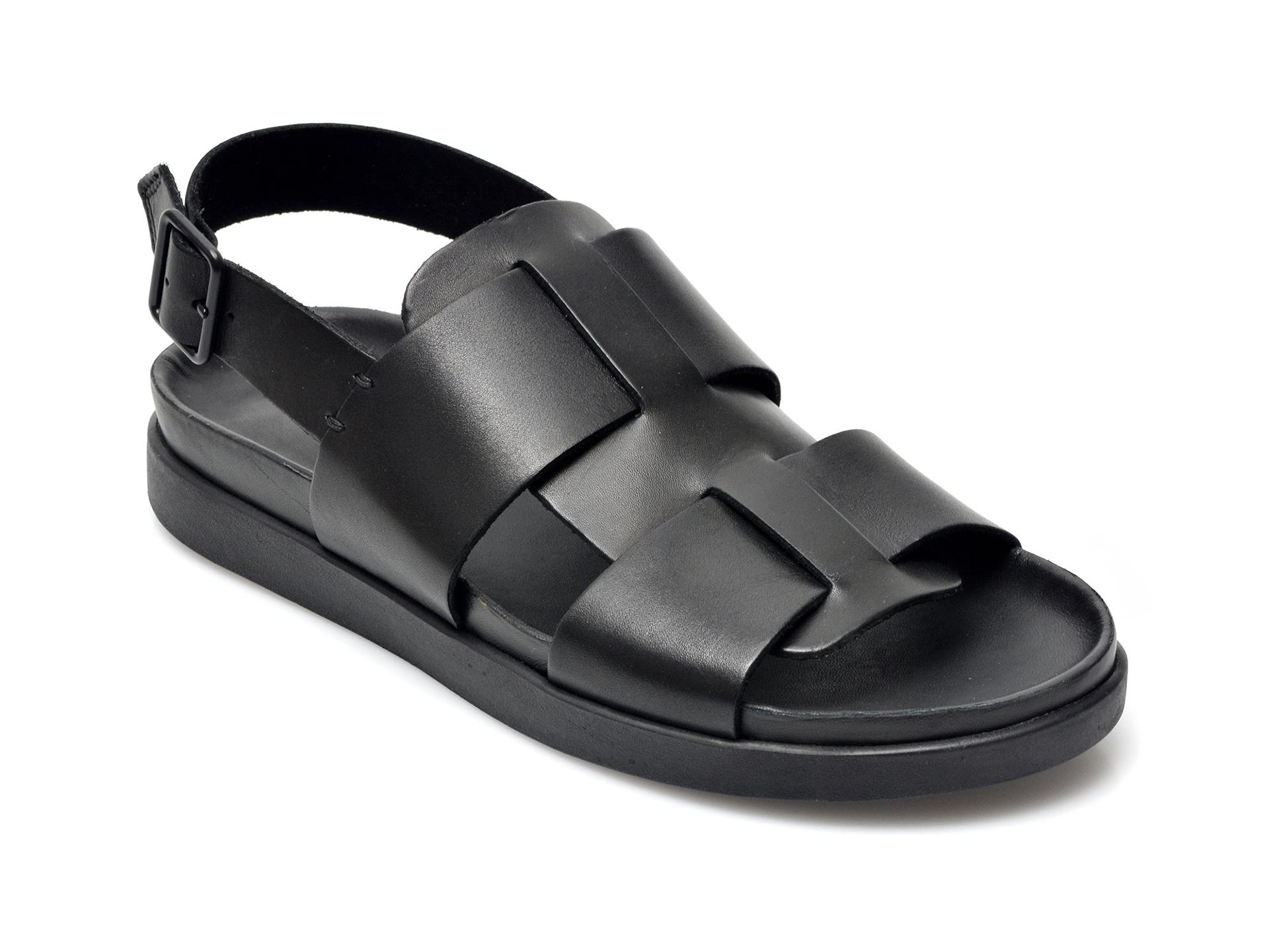 Sandale CLARKS negre, Brixby Shore, din piele naturala