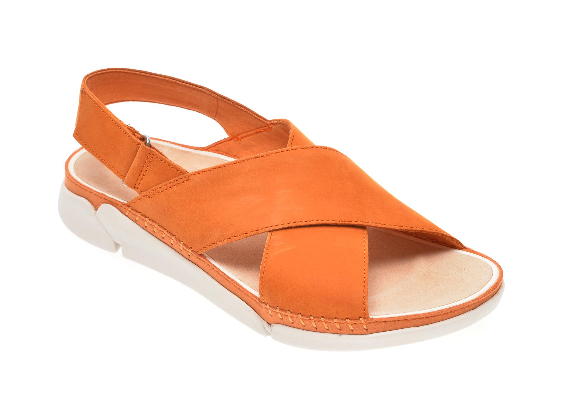 Sandale CLARKS portocalii, Tri Alexia, din nabuc