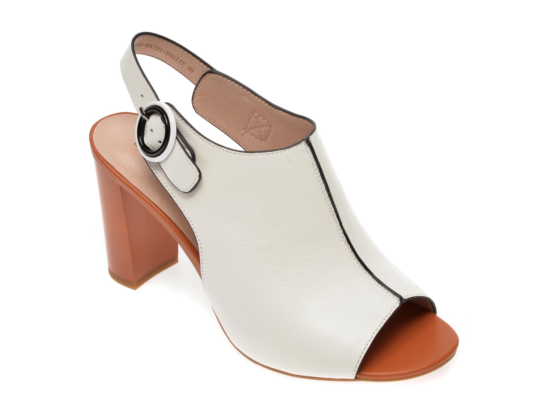 Sandale EPICA albe, CL030MX, din piele naturala