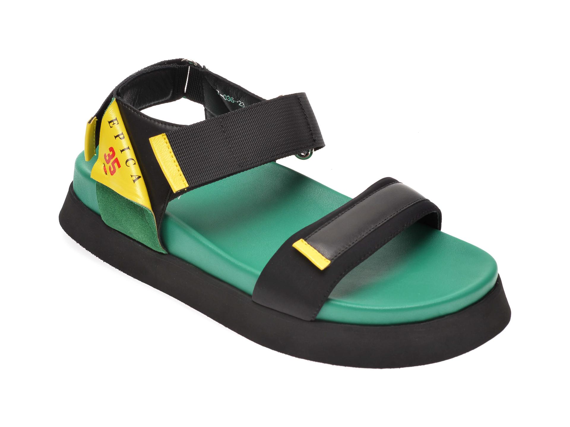 Sandale Epica Negre, 703623, Din Piele Naturala