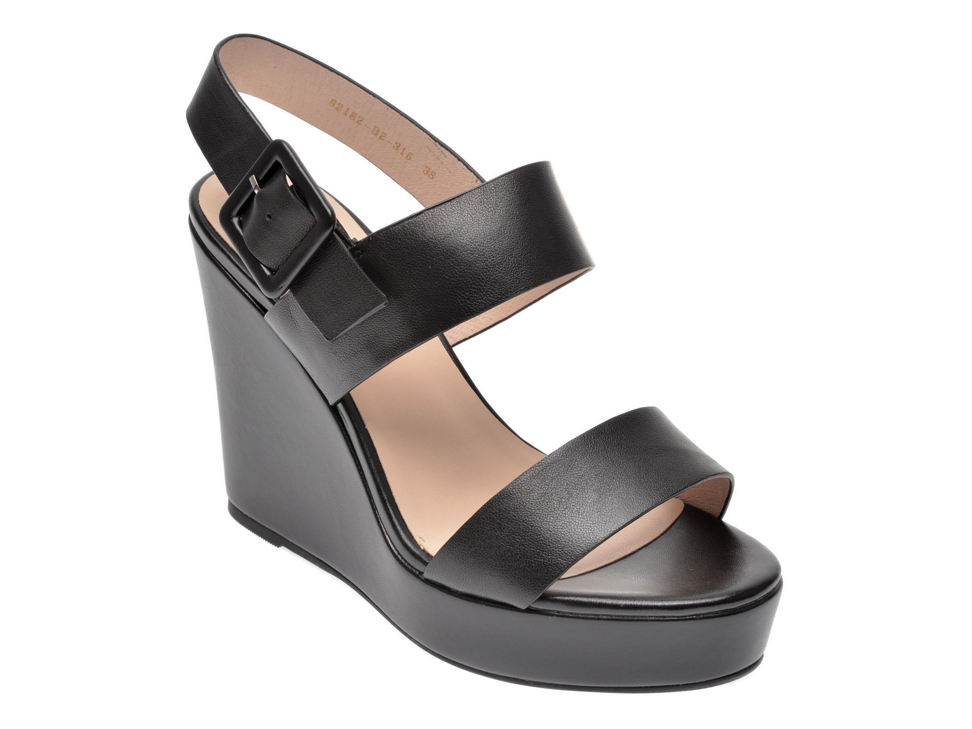 Sandale EPICA negre, 82182B2, din piele naturala