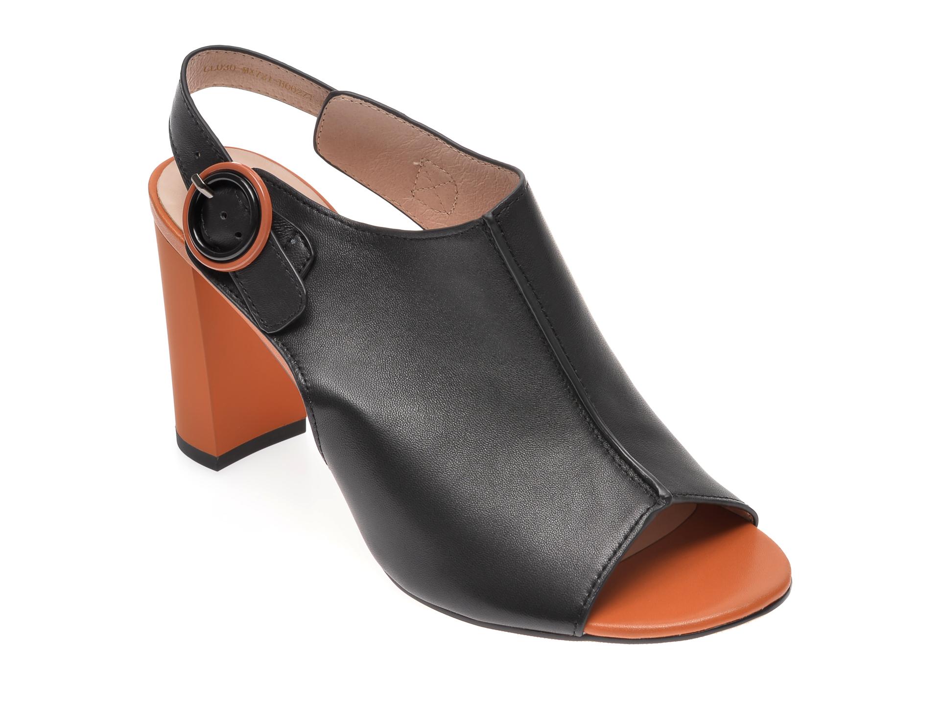 Sandale EPICA negre, CL030MX, din piele naturala