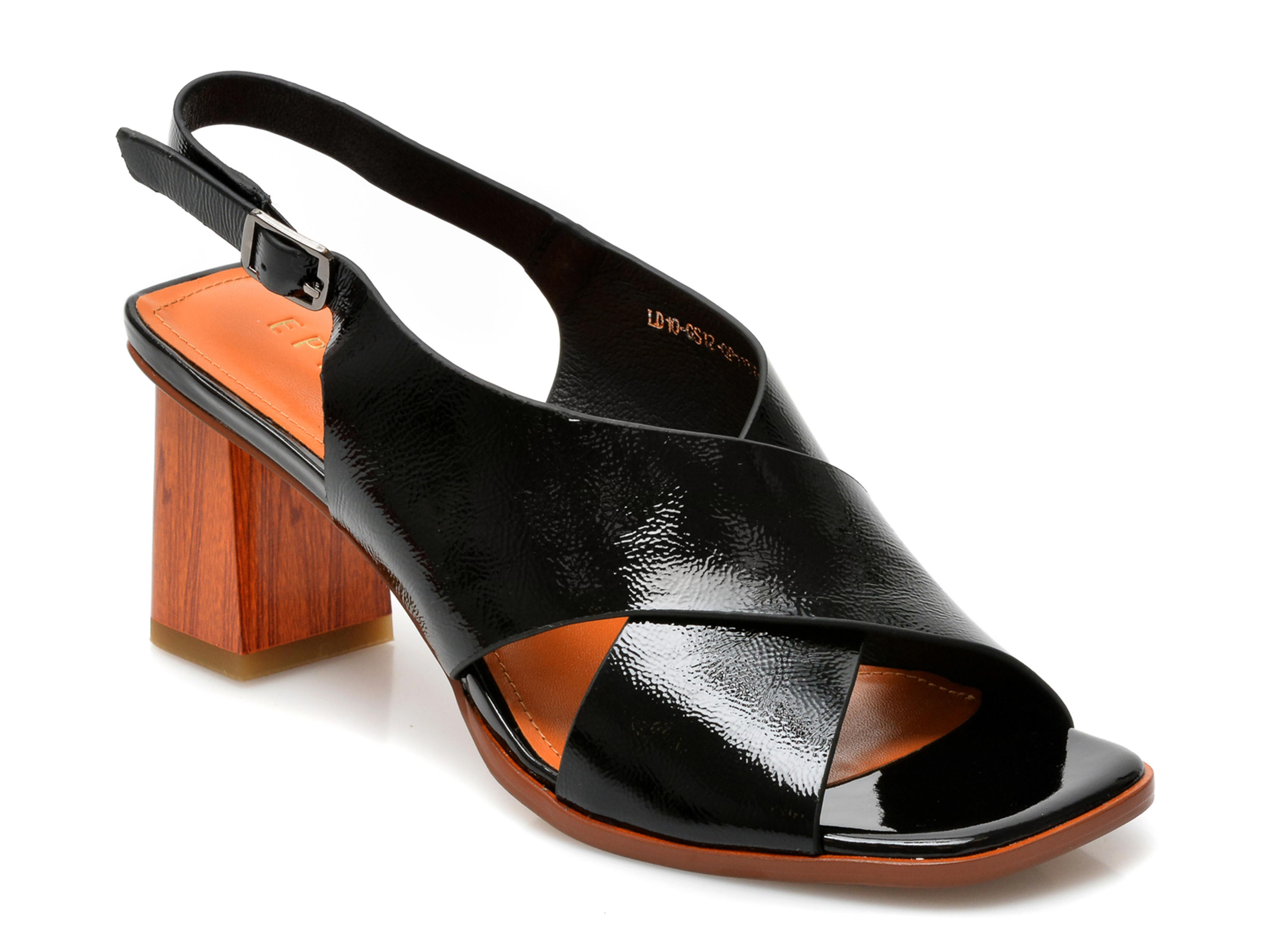 Sandale EPICA negre, LD10GS1, din piele naturala lacuita